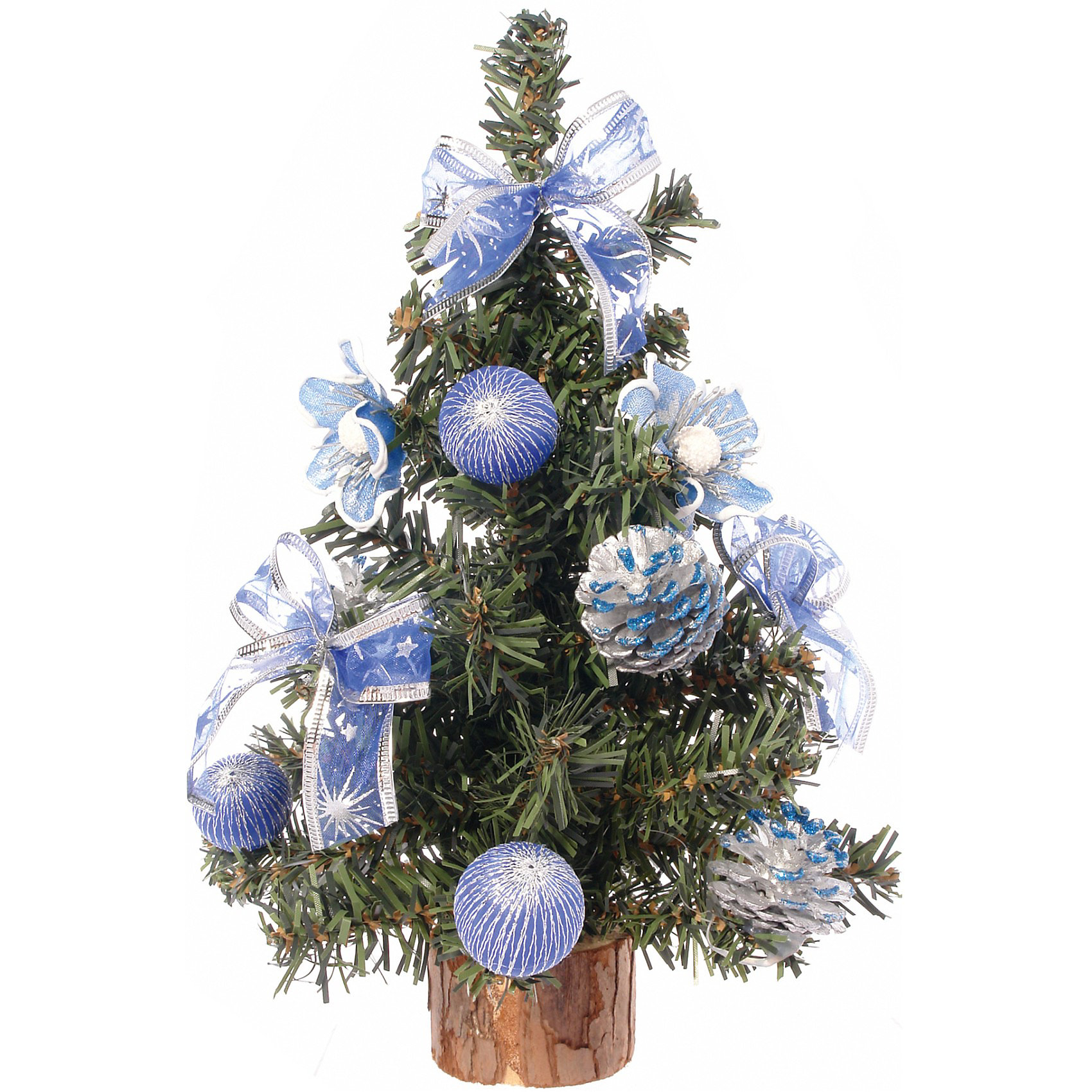 Ель декорированная, 30 см, синие украшения