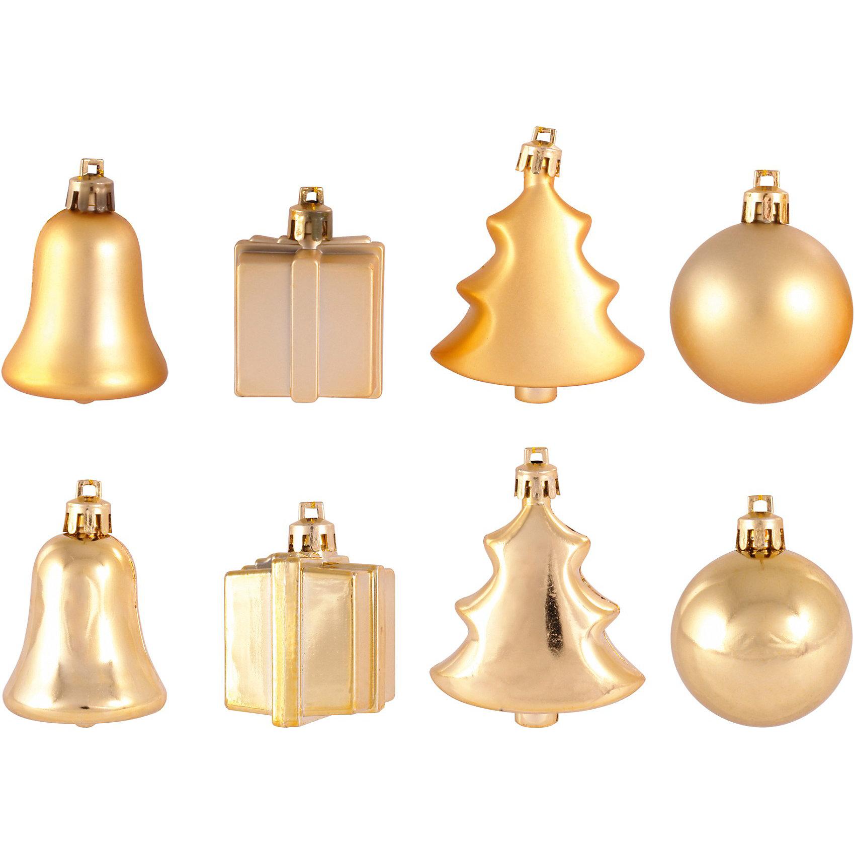 Набор золото 24 предмета, 5 смНабор золото 24 предмета, Волшебная страна станет замечательным украшением для Вашей новогодней елки и поможет создать праздничную радостную атмосферу. В комплекте<br>24 елочных игрушки 4 видов: колокольчики, шарики, подарочные сундучки и елочки. Все игрушки выполнены в золотистых тонах, они будут чудесно смотреться на елке и<br>радовать детей и взрослых.<br><br>Дополнительная информация:<br><br>- Цвет: золото.<br>- В комплекте: 24 шт.<br>- Размер игрушки: 5 см.<br>- Размер упаковки: 12 x 19 x 12 см.<br>- Вес: 0,251 кг.<br><br>Набор золото 24 предмета, Волшебная страна можно купить в нашем интернет-магазине.<br><br>Ширина мм: 730<br>Глубина мм: 190<br>Высота мм: 120<br>Вес г: 251<br>Возраст от месяцев: 60<br>Возраст до месяцев: 180<br>Пол: Унисекс<br>Возраст: Детский<br>SKU: 3791319