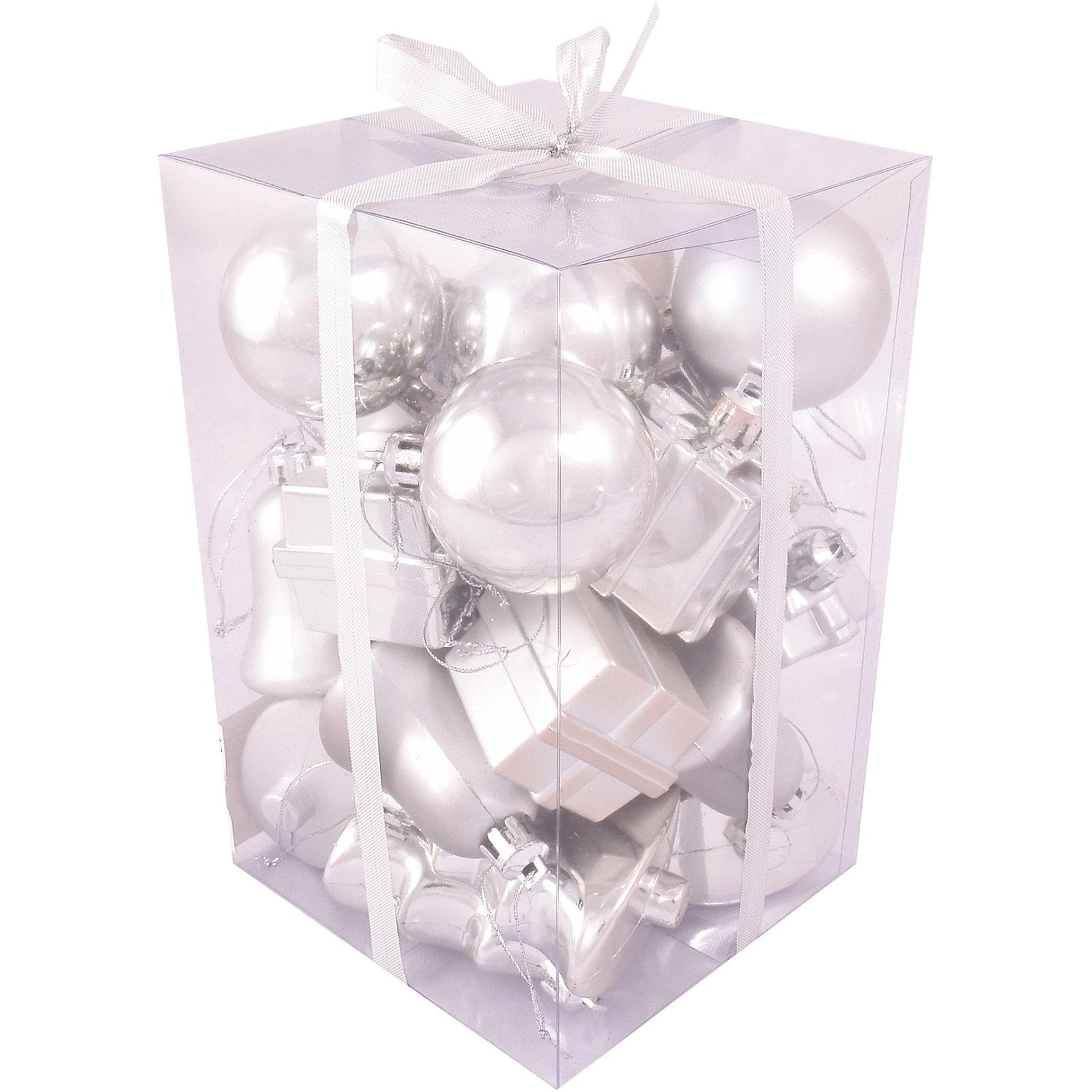Набор серебро, 24 предмета, 5 смНабор серебро 24 предмета, Волшебная страна станет замечательным украшением для Вашей новогодней елки и поможет создать праздничную радостную атмосферу. В<br>комплекте 24 елочных игрушки 4 видов: колокольчики, шарики, подарочные сундучки и елочки. Все игрушки выполнены в серебристых тонах, они будут чудесно смотреться на<br>елке и радовать детей и взрослых.<br><br>Дополнительная информация:<br><br>- Цвет: серебро.<br>- В комплекте: 24 шт.<br>- Размер игрушки: 5 см.<br>- Размер упаковки: 12 x 19 x 12 см.<br>- Вес: 0,251 кг.<br><br>Набор серебро 24 предмета, Волшебная страна можно купить в нашем интернет-магазине.<br><br>Ширина мм: 740<br>Глубина мм: 190<br>Высота мм: 120<br>Вес г: 251<br>Возраст от месяцев: 60<br>Возраст до месяцев: 180<br>Пол: Унисекс<br>Возраст: Детский<br>SKU: 3791320
