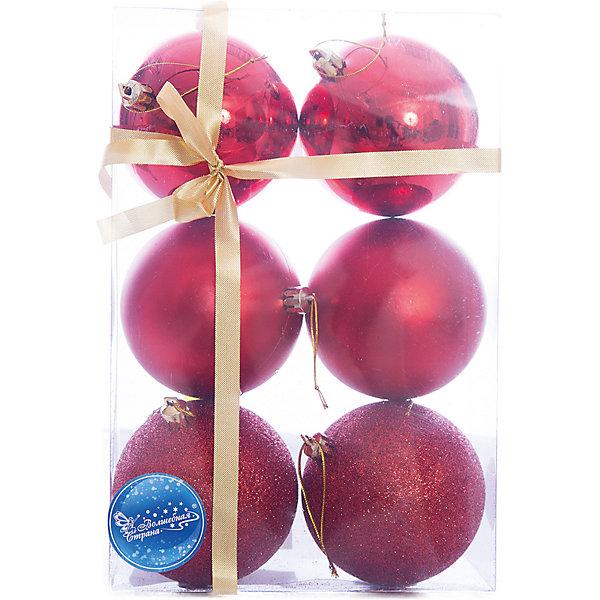 Шары, 8 см, 6 шт.Ёлочные игрушки<br>Набор шаров, Волшебная страна станет замечательным украшением для Вашей новогодней елки и поможет создать праздничную волшебную атмосферу. В комплекте шесть<br>красных шаров с разным покрытием: 2 глянцевых, 2 матовых и 2 сверкающих, они будут чудесно смотреться на елке и радовать детей и взрослых. Шары упакованы в<br>прозрачную коробочку из ПВХ, перевязанную бантиком.<br><br>Дополнительная информация:<br><br>- Цвет: красный.<br>- В комплекте: 6 шт.<br>- Диаметр шара: 8 см.<br>- Размер упаковки: 15,5 x 7,8 x 23,5 см.<br>- Вес: 185 гр.<br><br>Набор шаров, Волшебная страна можно купить в нашем интернет-магазине.<br>Ширина мм: 480; Глубина мм: 80; Высота мм: 240; Вес г: 185; Возраст от месяцев: 60; Возраст до месяцев: 180; Пол: Унисекс; Возраст: Детский; SKU: 3791338;