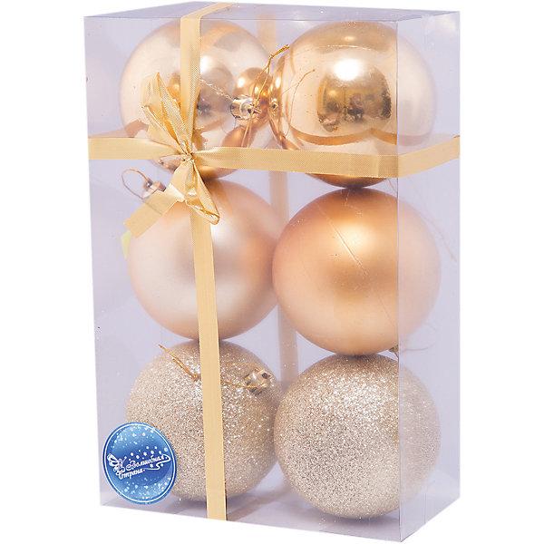 Шары, 8 см, 6 шт.Ёлочные игрушки<br>Набор шаров, Волшебная страна станет замечательным украшением для Вашей новогодней елки и поможет создать праздничную волшебную атмосферу. В комплекте шесть<br>золотистых шаров с разным покрытием: 2 глянцевых, 2 матовых и 2 сверкающих, они будут чудесно смотреться на елке и радовать детей и взрослых. Шары упакованы в<br>прозрачную коробочку из ПВХ, перевязанную бантиком.<br><br>Дополнительная информация:<br><br>- Цвет: золото.<br>- В комплекте: 6 шт.<br>- Диаметр шара: 8 см.<br>- Размер упаковки: 23 x 7,8 x 15,6 см.<br>- Вес: 180 гр.<br><br>Набор шаров, Волшебная страна можно купить в нашем интернет-магазине.<br><br>Ширина мм: 490<br>Глубина мм: 80<br>Высота мм: 160<br>Вес г: 180<br>Возраст от месяцев: 60<br>Возраст до месяцев: 180<br>Пол: Унисекс<br>Возраст: Детский<br>SKU: 3791340