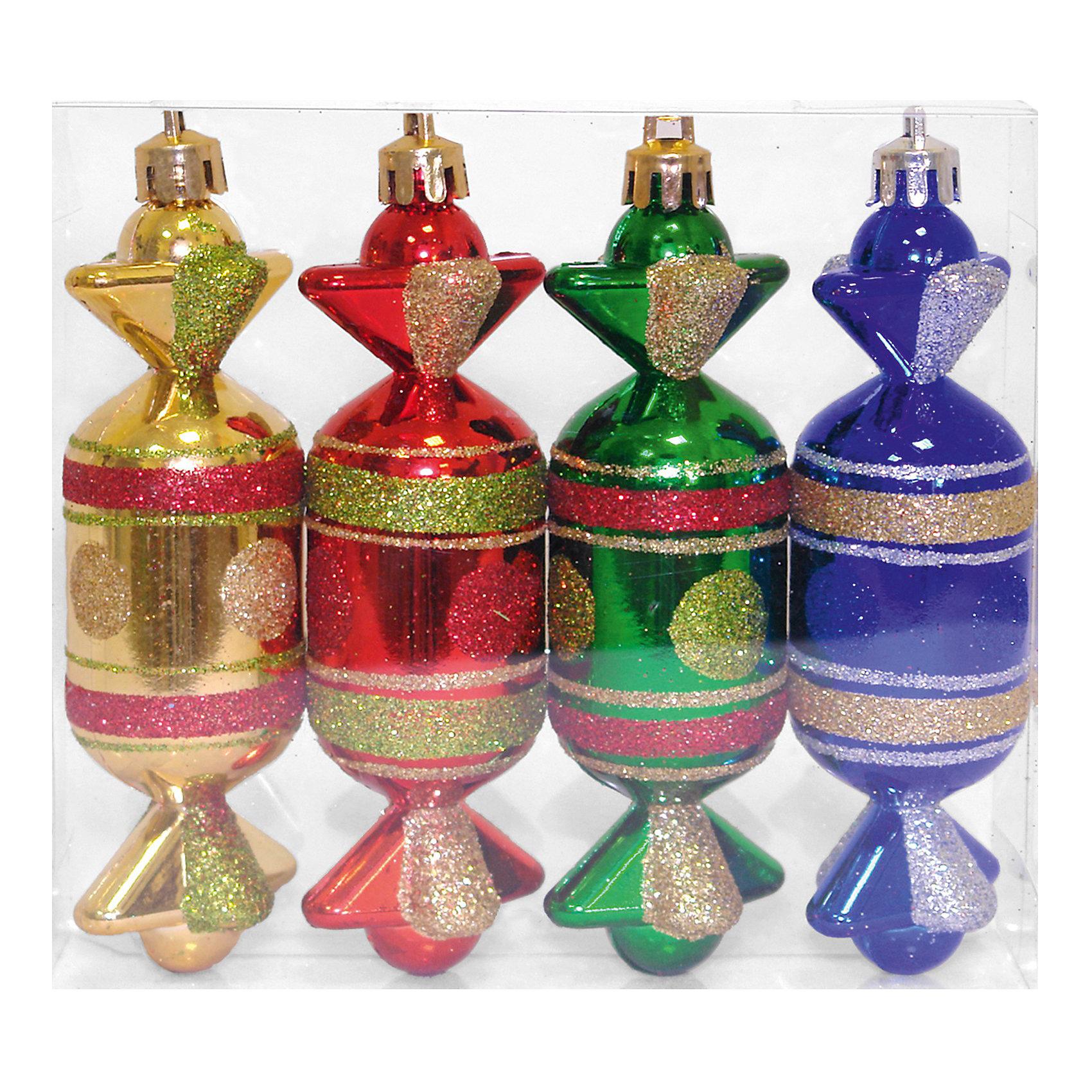 Елочное украшение «Конфеты», 12 см, 4 шт.Елочное украшение Конфеты, Волшебная страна замечательно дополнит наряд Вашей новогодней елки и поможет создать праздничную радостную атмосферу. Украшения<br>выполнены в виде разноцветных конфет, они будут чудесно смотреться на елке и радовать детей и взрослых. Игрушки упакованы в прозрачную коробочку из ПВХ,<br><br>Дополнительная информация:<br><br>- В комплекте: 4 шт.<br>- Размер украшения: 12 см.<br>- Размер упаковки: 12,5 x 3,3 x 13,5 см.<br>- Вес: 66 гр.<br><br>Елочное украшение Конфеты, Волшебная страна можно купить в нашем интернет-магазине.<br><br>Ширина мм: 630<br>Глубина мм: 30<br>Высота мм: 140<br>Вес г: 66<br>Возраст от месяцев: 60<br>Возраст до месяцев: 180<br>Пол: Унисекс<br>Возраст: Детский<br>SKU: 3791355