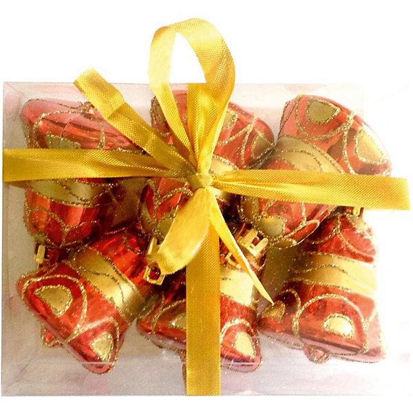 Елочное украшение «Колокольчики», 6 см, 6 шт.Ёлочные игрушки<br>Елочное украшение Колокольчики, Волшебная страна замечательно дополнит наряд Вашей новогодней елки и поможет создать праздничную радостную атмосферу. Украшение<br>выполнено в виде красочного колокольчика, украшенного узором, оно будет чудесно смотреться на елке и радовать детей и взрослых. Игрушки упакованы в прозрачную<br>коробочку из ПВХ, перевязанную ленточкой.<br><br>Дополнительная информация:<br><br>- В комплекте: 6 шт.<br>- Размер украшения: 6 см.<br>- Размер упаковки: 12 x 10 x 5 см.<br>- Вес: 60 гр.<br><br>Елочное украшение Колокольчики, Волшебная страна можно купить в нашем интернет-магазине.<br>Ширина мм: 490; Глубина мм: 100; Высота мм: 50; Вес г: 60; Возраст от месяцев: 60; Возраст до месяцев: 180; Пол: Унисекс; Возраст: Детский; SKU: 3791357;