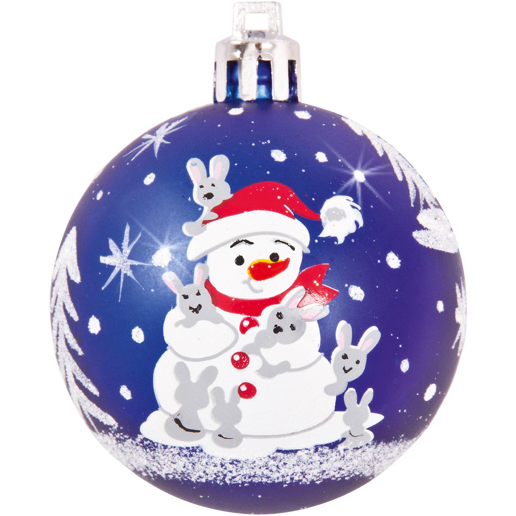 Шары с рисунком Снеговик, 6 см, 4 шт., цвет - синийШары с рисунком Снеговик, Волшебная страна станут замечательным украшением для Вашей новогодней елки и помогут создать праздничную волшебную атмосферу. В<br>комплекте четыре синих шара с изображением веселого снеговика, они будут чудесно смотреться на елке и радовать детей и взрослых. Шары упакованы в прозрачную коробочку<br>из ПВХ.<br><br>Дополнительная информация:<br><br>- Цвет: синий.<br>- В комплекте: 4 шт.<br>- Диаметр шара: 6 см.<br>- Размер упаковки: 12 x 12 x 6 см.<br>- Вес: 75 гр.<br><br>Шары с рисунком Снеговик, Волшебная страна можно купить в нашем интернет-магазине.<br><br>Ширина мм: 530<br>Глубина мм: 120<br>Высота мм: 60<br>Вес г: 76<br>Возраст от месяцев: 60<br>Возраст до месяцев: 180<br>Пол: Унисекс<br>Возраст: Детский<br>SKU: 3791381