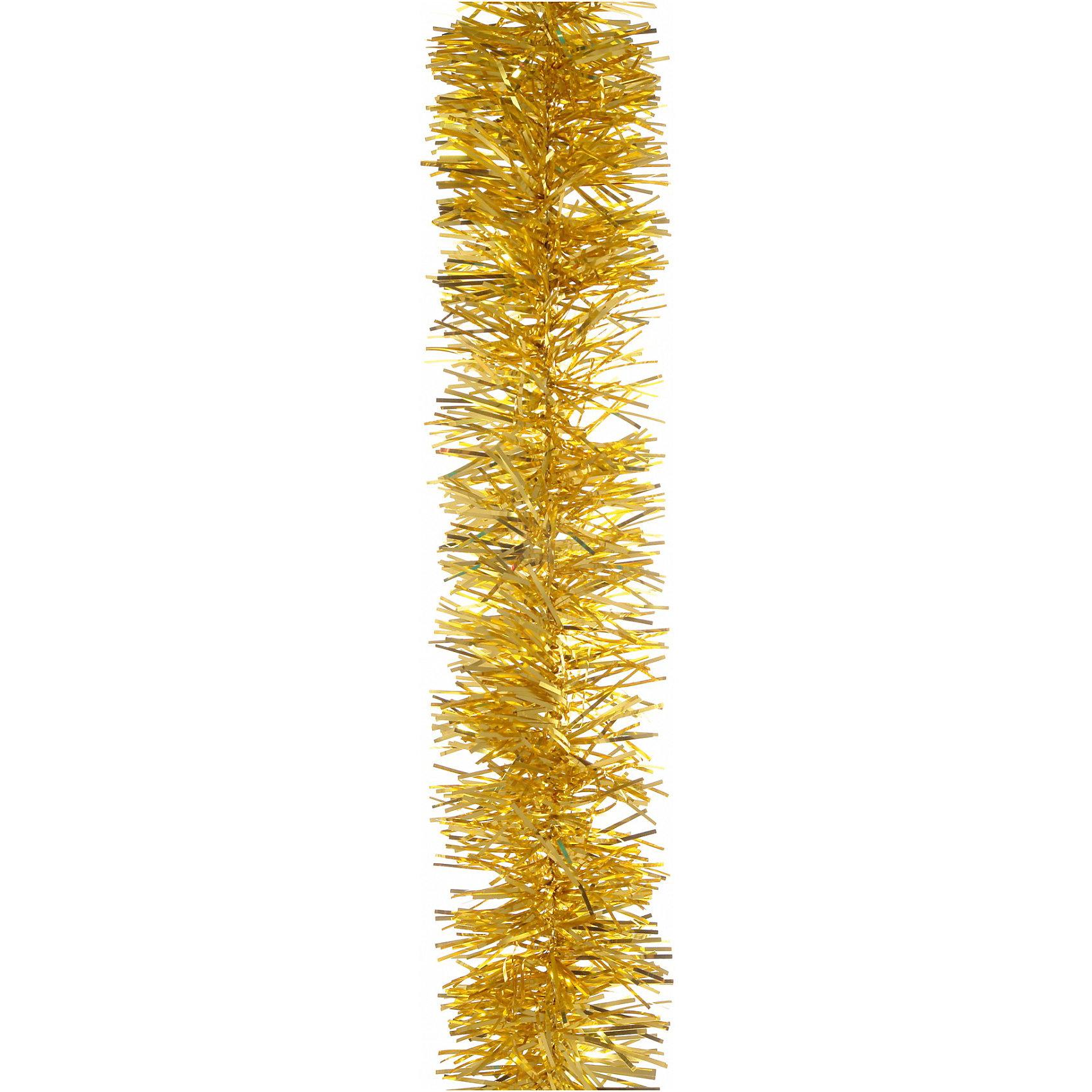 Мишура, 4 слоя, 7 см х 2 м, цвет - золото