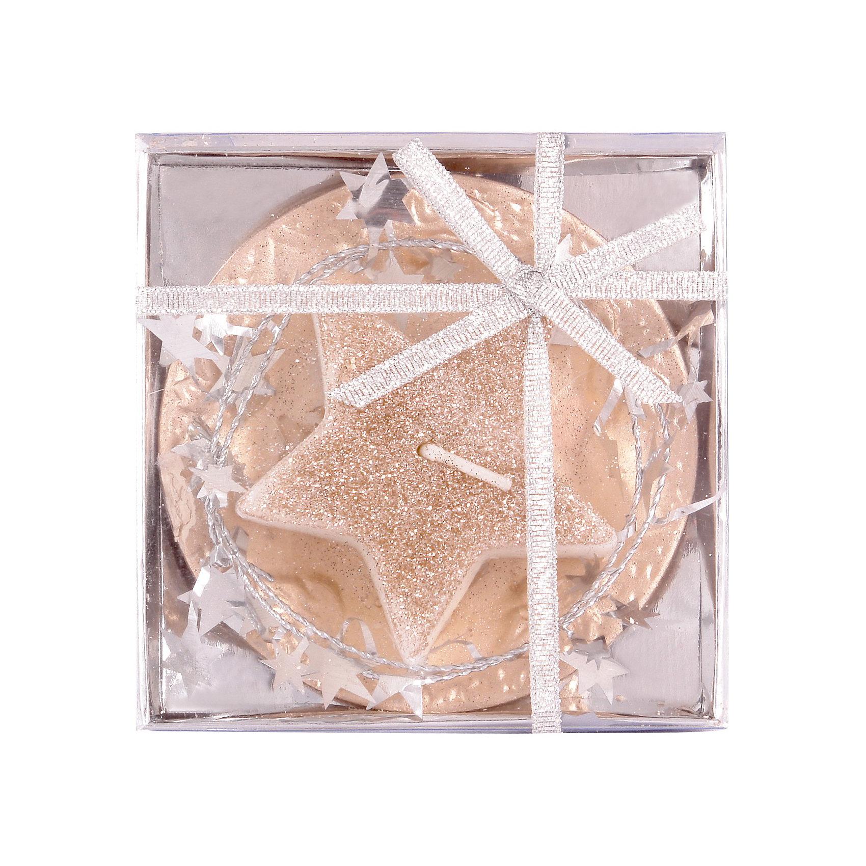 Волшебная Страна Свеча «Серебряная снежинка» на керамической подставке