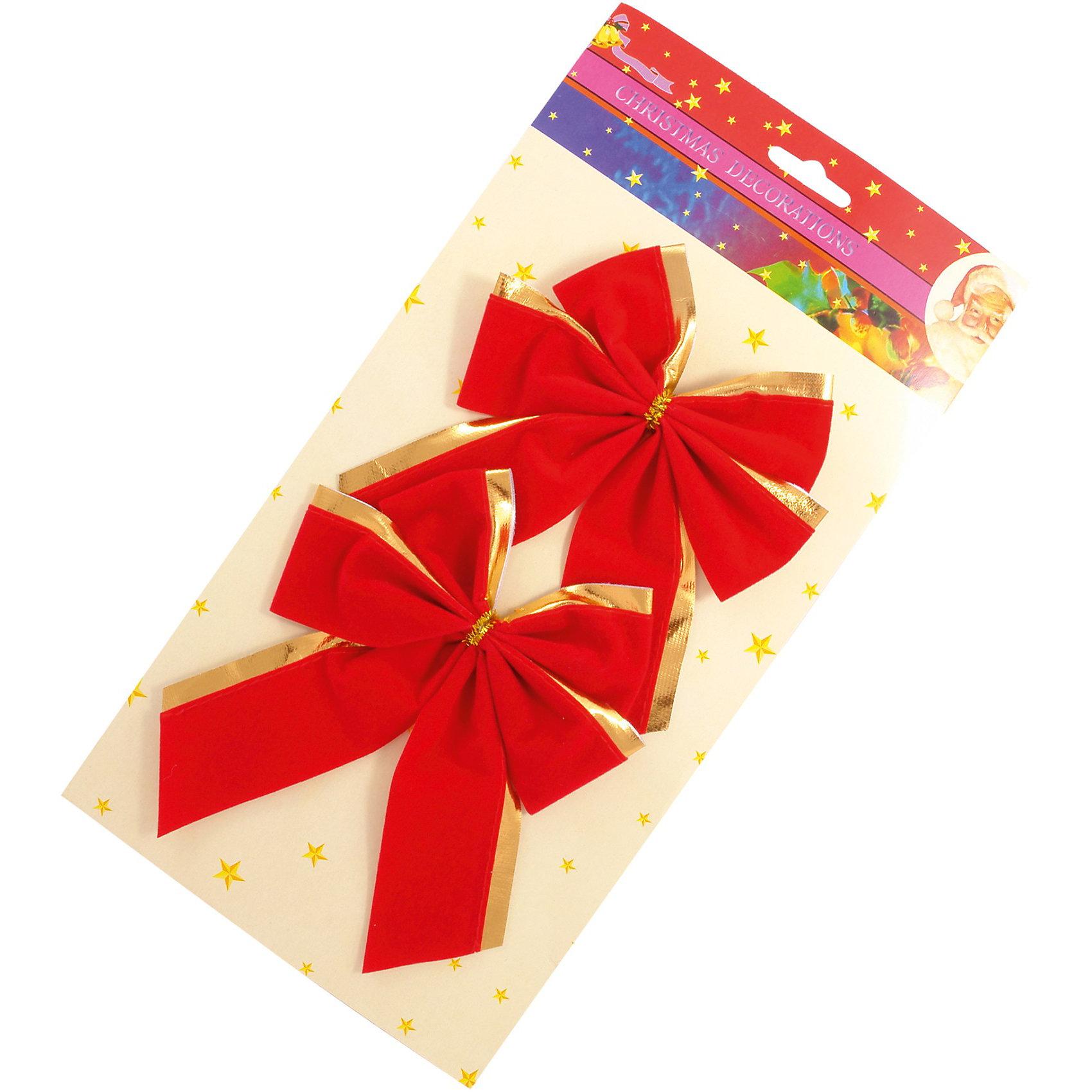 Декоративное украшение «Бантик», 13 х 16 см, 2 шт.Декоративное украшение Бантик, Волшебная страна замечательно дополнит наряд Вашей новогодней елки и поможет создать праздничную волшебную атмосферу. В комплекте 2 нарядных красных бантика с золотой каймой, они будут чудесно смотреться на елке и радовать детей и взрослых. <br><br>Дополнительная информация:<br><br>- В комплекте: 2 шт.<br>- Размер: 13 х 16 см.<br>- Вес: 29 гр. <br><br>Декоративное украшение Бантик, Волшебная страна можно купить в нашем интернет-магазине.<br><br>Ширина мм: 640<br>Глубина мм: 110<br>Высота мм: 20<br>Вес г: 29<br>Возраст от месяцев: 60<br>Возраст до месяцев: 180<br>Пол: Унисекс<br>Возраст: Детский<br>SKU: 3791459