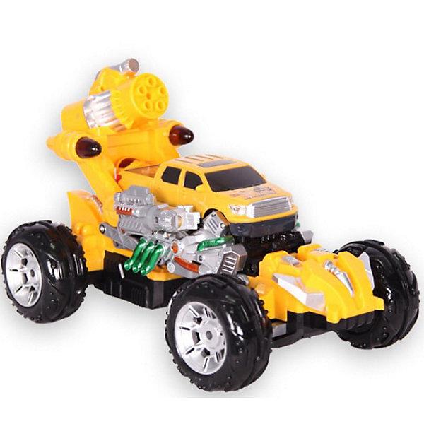 Автомобиль Rocket bomber, на р/у, Mioshi TechРадиоуправляемые машины<br>Автомобиль Rocket bomber, на радиоуправлении, Mioshi Tech  – отличный подарок для мальчика.<br>Радиоуправляемая машинка Rocket bomber - это настоящий автомобиль-трансформер! Когда кузов поднимается на 90 градусов, машина становится боевым роботом, стреляющим ракетами-присосками. Включение зажигания, движение автомобиля и стрельба сопровождаются световыми и звуковыми эффектами. Управление осуществляется пультом.<br><br>Дополнительная информация:<br><br>- В комплекте: автомобиль, аккумулятор, зарядное устройство, пульт, батарейка 9V, ракетами с присосками 10 шт, мишень, инструкция<br>- Частота: 27 мГц.<br>- Материал: пластиковая рама<br>- Движение: вперед/назад, вправо/влево<br>- Время работы аккумулятора: 15 минут<br>- Тип двигателя: электрический<br>- Пульт ДУ: удобный двухканальный пульт<br>- Скорость: 15 км/ч<br>- Управление: автомобиль управляется по двум каналам, вперед-назад и влево вправо при помощи сервомеханизма, центральная кнопка на пульте ДУ отвечает за стрельбу, правая и левая дополнительные кнопки - за трансформацию<br>- Питание устройства: 1xАккумулятор с зарядкой от электросети<br>- Питание ПДУ: 1x9V (Крона)<br>- Время работы аккумулятора: 15 минут<br>- Напряжение питания: 7.2 В<br>- Емкость аккумулятора: 700 мА•ч<br>- Время зарядки:2 часа<br>- Свет: светодиодная подсветка кузова<br>- Шины из твердой резины<br>- Размер машинки: 180 x200 x300 мм.<br>- Размеры упаковки: 39.07 x 26.83 x 21.85 см.<br>- Вес: 1.631 кг.<br><br>Автомобиль Rocket bomber, на радиоуправлении, Mioshi Tech  можно купить в нашем интернет-магазине.<br>Ширина мм: 383; Глубина мм: 260; Высота мм: 218; Вес г: 1688; Возраст от месяцев: 72; Возраст до месяцев: 180; Пол: Мужской; Возраст: Детский; SKU: 3793860;