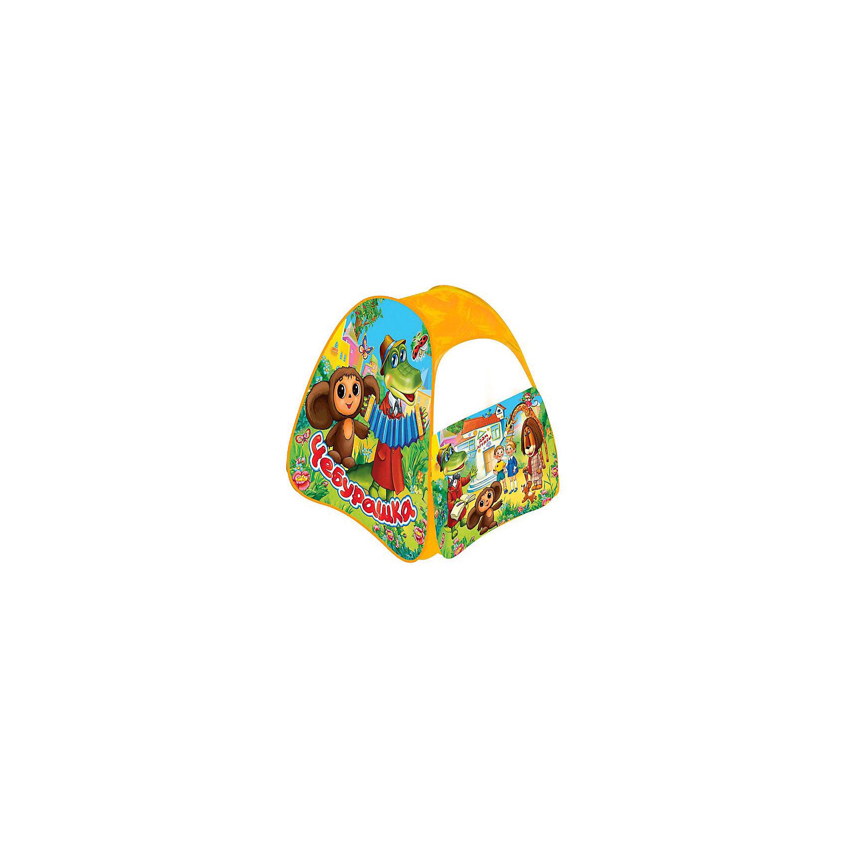 Детская игровая палатка Чебурашка, Играем вместеДетская игровая палатка Чебурашка, Играем вместе станет чудесным подарком для Вашего ребенка. Красочная разноцветная палатка украшена изображениями персонажей из популярных отечественных мультфильмов о Чебурашке и Крокодиле Гене.<br><br>Палатка оснащена дверью на липучке и полупрозрачным окном из сетчатого материала, которое позволяет наблюдать за ребенком когда он находится внутри. Благодаря самораскладывающемуся каркасу-спирали палатка легко собирается и складывается. Этот замечательный игровой домик поможет Вашему ребенку создать свой уютный уголок<br>для игр как в помещении, так и на улице. <br><br>Палатка компактно складывается в небольшую пластиковую сумочку на молнии, поэтому ее удобно брать с собой на прогулку или в поездку. Выполнена из прочного, водонепроницаемого, моющегося материала.<br><br>Дополнительная информация:<br><br>- Материал: текстиль, металл.<br>- Размер палатки: 81 х 91 х 81 см.<br>- Вес с упаковкой: 0,75 кг. <br><br>Яркая палатка будет чудесным местом для самостоятельной игры ребёнка и отлично подойдёт для сюжетно-ролевых игр. <br><br>Детскую игровую палатку Чебурашка, Играем вместе можно купить в нашем интернет-магазине.<br><br>Ширина мм: 40<br>Глубина мм: 350<br>Высота мм: 350<br>Вес г: 750<br>Возраст от месяцев: 12<br>Возраст до месяцев: 60<br>Пол: Унисекс<br>Возраст: Детский<br>SKU: 3794555