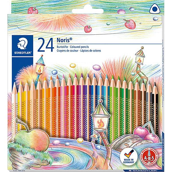 Цветные карандаши NorisClub, 24 цв.Письменные принадлежности<br>Набор цветных карандашей  Noris Club  эргонамичной  трехгранной  формы  для удобного и легкого письма. Содержит 24 цвета. Картонная упаковка.  Уникальное, нескользящее мягкое покрытие. A-B-C - белое защитное покрытие для укрепления грифеля и для защиты от поломки. Привлекательный дизайн Звезды с полем для имени. Очень мягкий и яркий грифель. При производстве используется древесина и специально подготовленных лесов.<br><br>Ширина мм: 199<br>Глубина мм: 174<br>Высота мм: 12<br>Вес г: 142<br>Возраст от месяцев: 60<br>Возраст до месяцев: 1188<br>Пол: Унисекс<br>Возраст: Детский<br>SKU: 3797323