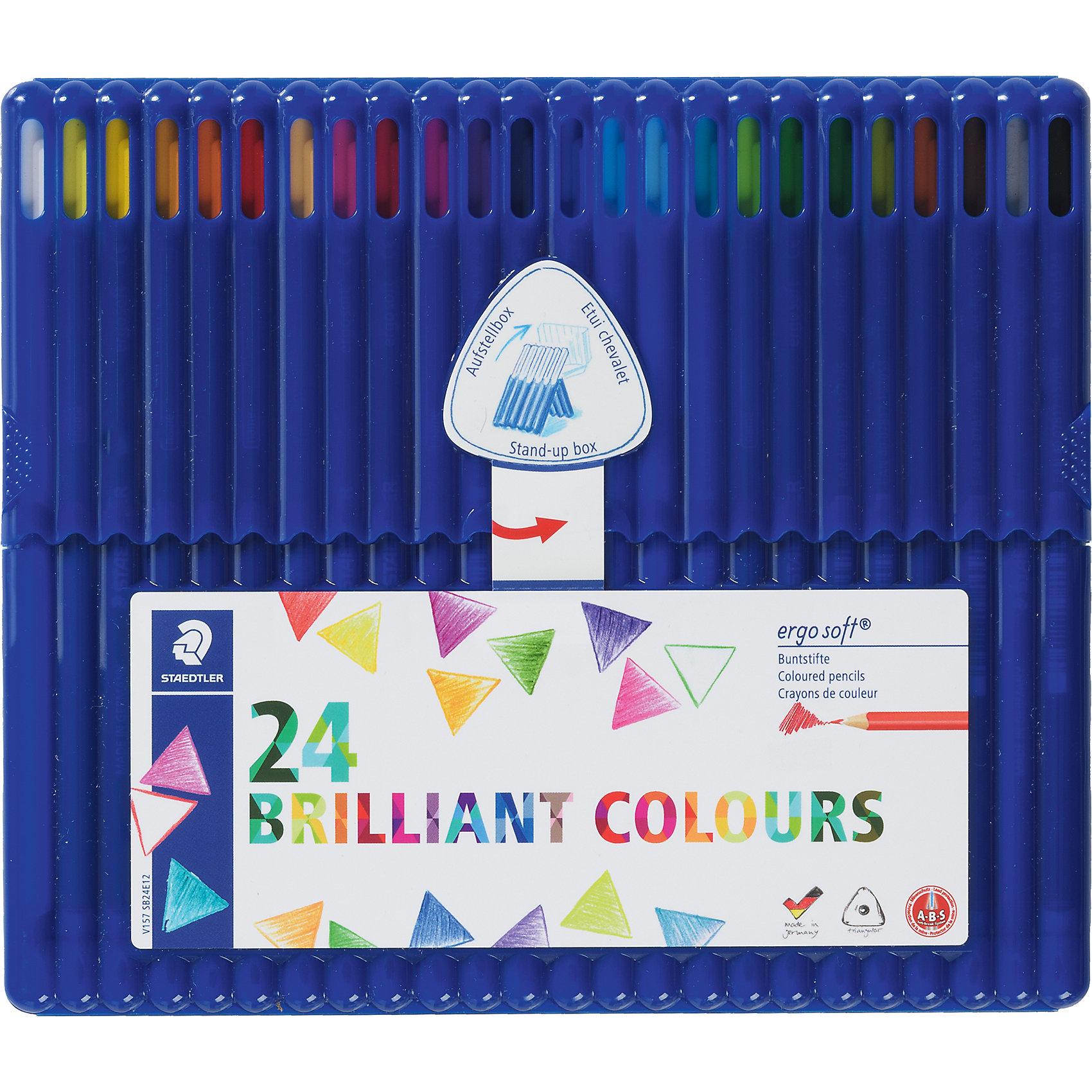 Карандаш цветной Ergosoft трехгранный, набор 24 цветаПисьменные принадлежности<br>Набор цветных  карандашей ergo soft® 157. Пластиковая коробка-подставка содержит 24 цвета в асортименте. Карандаши уложены в 1 ряд. Эргонамичная трехгранная  форма для удобного и легкого письма.  Уникальное, нескользящее покрытие с полем для имени. A-B-S - белое защитное покрытие для укрепления грифеля и для защиты от поломки. Очень мягкий и яркий грифель. Лак на водной основе. При производстве используется древисина сертифицированных и специально подготовленных лесов.<br><br>Ширина мм: 215<br>Глубина мм: 182<br>Высота мм: 15<br>Вес г: 235<br>Возраст от месяцев: 60<br>Возраст до месяцев: 120<br>Пол: Унисекс<br>Возраст: Детский<br>SKU: 3797324
