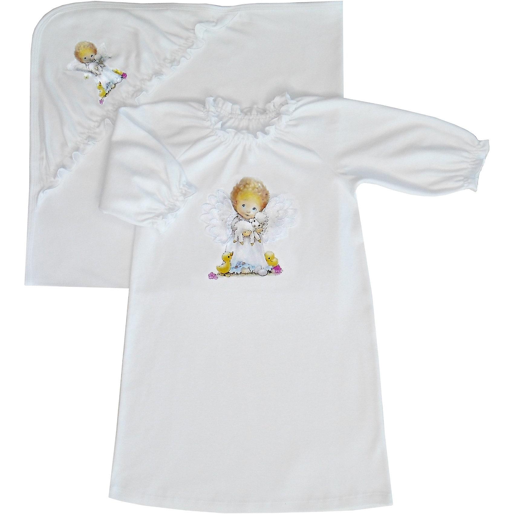 Крестильный комплект для девочки: распашонка и простынка Бимоша