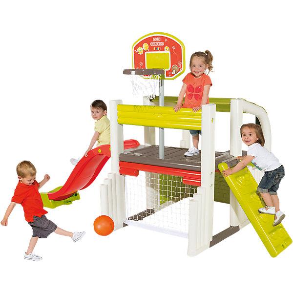 Спортивно-игровой комплекс, 284*203*176 см, SmobyДомики и мебель<br>Характеристики:<br><br>• состав комплекса: беседка, горка, баскетбольное  кольцо, лестница, футбольные ворота, площадка;<br>• две высоты установки кольца;<br>• скат горки: 1,5 м;<br>• размер комплекса: 284х203х176 см;<br>• материал: пластик, металл;<br>• максимальная нагрузка: 50 кг;<br>• размер упаковки: 120х50х88 см;<br>• вес: 30 кг.<br><br>Универсальный спортивно-игровой комплекс подарит детям много радости в жаркий летний день. Каждый ребенок сможет найти для себя занятие благодаря разнообразию составляющих комплекса.<br><br>Юным спортсменам понравятся футбольные ворота и баскетбольное кольцо. Для удобства ребенка высоту кольца можно регулировать по высоте (два уровня).<br><br>Любители активных игр будут рады необычным отверстиям для лазания, оригинальным лестницам и крутой горке длиной 1,5 метра. После веселых игр дети смогут перекусить и отдохнуть под навесом. <br><br>Для детей, любящих творчество, в конструкции предусмотрен столик с сидениями. За этим столиком дети смогут лепить, рисовать, собирать конструктор и заниматься любимыми играми. <br><br>Комплекс изготовлен из высококачественного пластика, устойчивого к деформации во время мороза и жары. Комплекс легко очищается от загрязнений с помощью моющих средств.<br><br>Размер комплекса - 284х203х176 сантиметров.<br><br>Спортивно-игровой комплекс, 284*203*176 см, Smoby (Смоби) можно купить в нашем интернет-магазине.<br><br>Ширина мм: 1200<br>Глубина мм: 500<br>Высота мм: 882<br>Вес г: 31900<br>Возраст от месяцев: 24<br>Возраст до месяцев: 1164<br>Пол: Унисекс<br>Возраст: Детский<br>SKU: 3800179