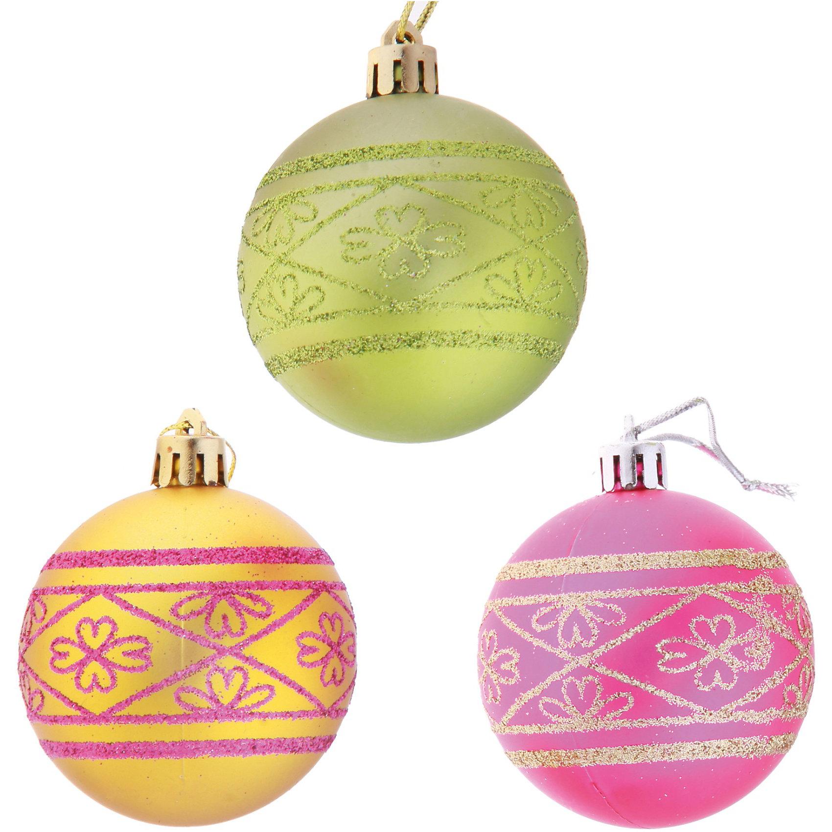 Набор шаров с узором (6 шт, диаметр 6 см), Волшебная странаНабор шаров с узором, Волшебная страна станет замечательным украшением для Вашей новогодней елки и поможет создать праздничную волшебную атмосферу. В комплекте шесть разноцветных шаров, украшенных симпатичным узором с блестками. Шары выполнены из пластика, не бьются и безопасны для детей.<br><br>Дополнительная информация:<br><br>- В комплекте: 6 шт.<br>- Материал: пластик.<br>- Диаметр шара: 6 см.<br>- Размер упаковки: 17,5 x 5,8 x 11,6 см.<br>- Вес: 87 гр.<br><br>Набор шаров с узором, Волшебная страна можно купить в нашем интернет-магазине.<br><br>Ширина мм: 620<br>Глубина мм: 60<br>Высота мм: 120<br>Вес г: 84<br>Возраст от месяцев: 36<br>Возраст до месяцев: 2147483647<br>Пол: Унисекс<br>Возраст: Детский<br>SKU: 3800232