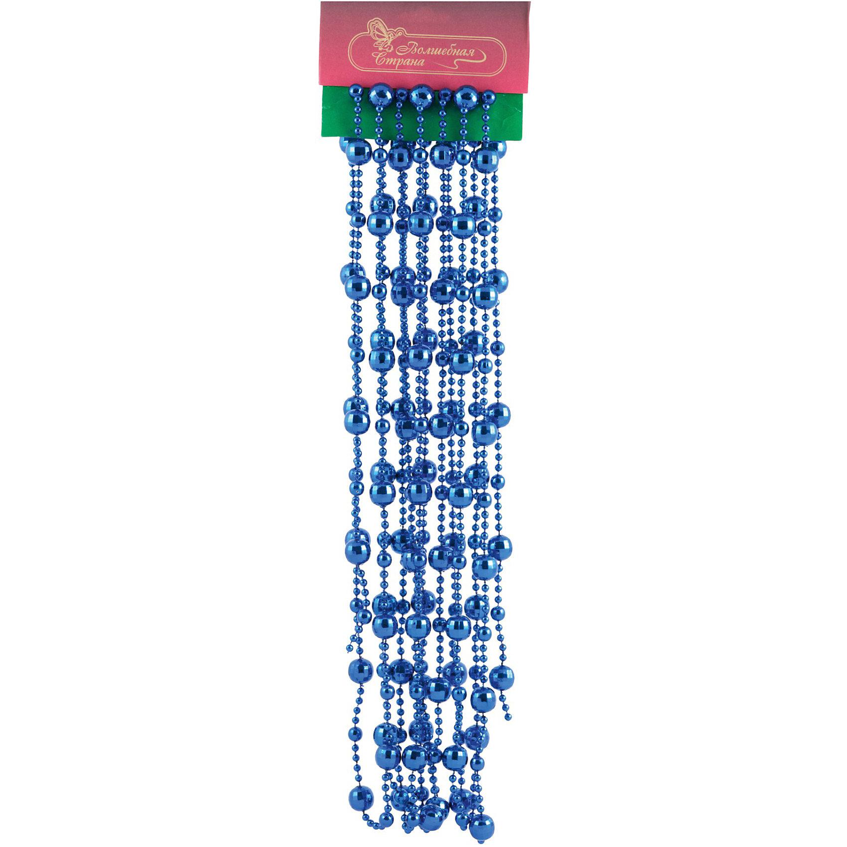 Бусы Барокко (длина 5,4 м, цвет синий), Волшебная странаВсё для праздника<br>Бусы Барокко, Волшебная страна станут замечательным украшением для Вашей новогодней елки и помогут создать праздничную волшебную атмосферу. Бусы синей расцветки выполнены в элегантном дизайне и состоят из бусинок разного размера и диаметра, они будут чудесно смотреться на елке и вызывать положительные эмоции у детей и взрослых.<br><br><br>Дополнительная информация:<br><br>- Цвет: синий.<br>- Длина бус: 5,4 м.<br>- Размер упаковки: 38 x 11 x 1 см.<br>- Вес: 190 гр. <br><br>Бусы Барокко Волшебная страна можно купить в нашем интернет-магазине.<br><br>Ширина мм: 380<br>Глубина мм: 110<br>Высота мм: 10<br>Вес г: 190<br>Возраст от месяцев: 36<br>Возраст до месяцев: 2147483647<br>Пол: Унисекс<br>Возраст: Детский<br>SKU: 3800238