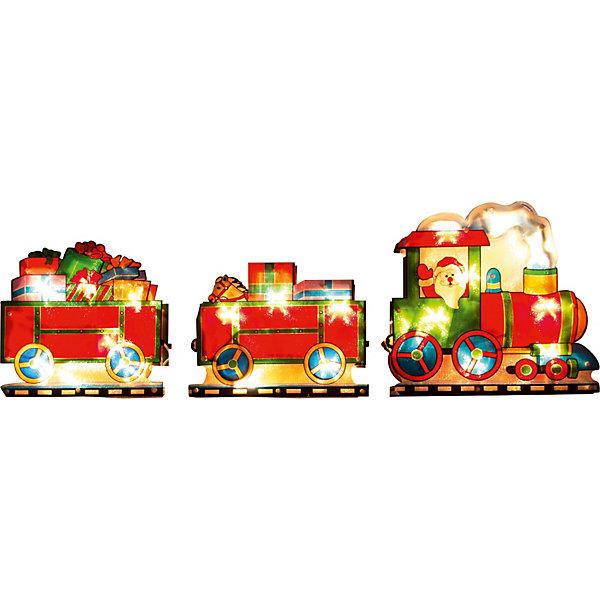 Световое панно «Паровоз с подарками» (20 ламп, 100х22,5 см), Волшебная странаНовогодние световые фигуры<br>Световое панно «Паровоз с подарками», Волшебная страна станет замечательным украшением Вашего интерьера и поможет создать волшебную атмосферу новогоднего праздника. Красочное светящееся панно с 20 лампами выполнено в виде ярко-красного паровозика с двумя вагончиками, наполненными подарками. Панно оснащено тройной присоской и прочно крепится к стене или другой поверхности. <br><br>Дополнительная информация:<br><br>- Материал: пластик, медь.<br>- Размер панно: 100 х 22,5 см.<br>- Вес: 426 гр.<br>- Напряжение: 12V<br><br>Световое панно «Паровоз с подарками», Волшебная страна можно купить в нашем интернет-магазине.<br><br>Ширина мм: 500<br>Глубина мм: 80<br>Высота мм: 250<br>Вес г: 426<br>Возраст от месяцев: 36<br>Возраст до месяцев: 2147483647<br>Пол: Унисекс<br>Возраст: Детский<br>SKU: 3800246