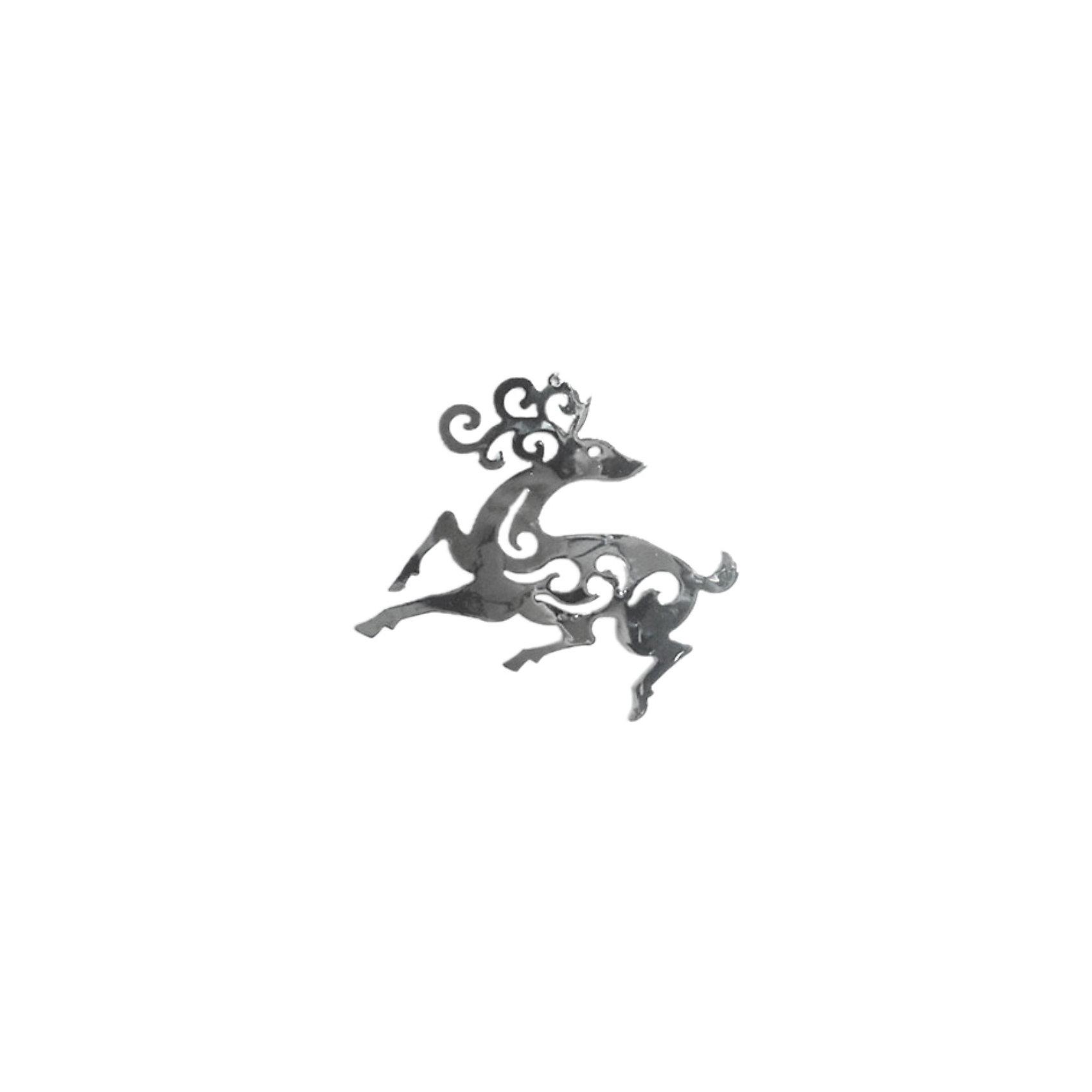 Волшебная Страна Металлическая подвеска Олень (11,4х10,2 см, цвет серебро), Волшебная страна волшебная страна
