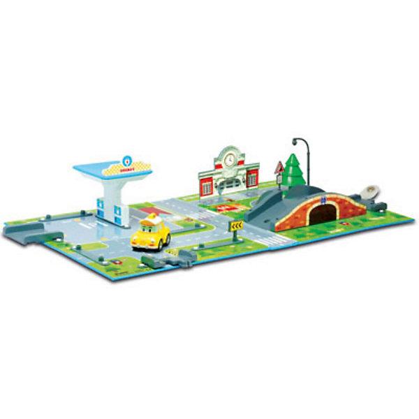 Игровой набор «Почта с мостом», Робокар ПолиИгрушки<br>Игровой набор «Почта с мостом», Робокар Поли – это восхитительная игрушка по мотивам популярного мультсериала «Робокар Поли и его друзья» (Robocar Poli).<br>Замечательный игровой набор Почта с мостом Робокар Поли представляет собой игровое поле с детально нарисованными дорогами, переходами и городскими пейзажами городка Брумстаун из популярного мультсериала «Робокар Поли и его друзья». На участке игрушечного города есть здание почты с часами, автозаправка, фонарь, мост, дорожные знаки. В комплекте - металлическая машинка такси Кэп. В удивительном городе Брумстаун каждый день что-то происходит. О нём можно посмотреть мультфильм, но, конечно, гораздо интересней  создавать события своими руками. Со временем свой город Брумстаун малыш сможет населить и другими жителями – автомобильчиками, героями мультсериала. <br>Вместе с ребенком Вы сможете также расширить город - покупая другие игровые наборы Робокар Поли. Все они легко стыкуются друг с другом, и получается полноценный многофункциональный город с различными возможностями для сюжетных игр Вашего ребенка. Игры с набором благотворно скажутся на развитии мышления, логики, фантазии, концентрации внимания, мелкой моторики и точности движений. Игрушка изготовлена из высококачественных, безопасных и экологически чистых материалов, использованные красители не токсичны и гипоаллергенны.<br><br>Дополнительная информация:<br><br>- В комплекте: 1 металлическая машинка<br>- Размер машинки: 6 см.<br>- Материал: пластик<br>- Игровое поле сделано из качественного плотного материала, который не гнётся, не мнётся и не рвётся<br>- Набор легко взять с собой, он собирается в виде небольшого чемоданчика<br>- Размер упаковки: 400х260х60 мм.<br>- Вес: 770 гр.<br><br>Игровой набор «Почта с мостом», Робокар Поли (Robocar Poli) можно купить в нашем интернет-магазине.<br><br>Ширина мм: 400<br>Глубина мм: 260<br>Высота мм: 60<br>Вес г: 770<br>Возраст от месяцев: 36<br>Возраст до месяцев: 84<b