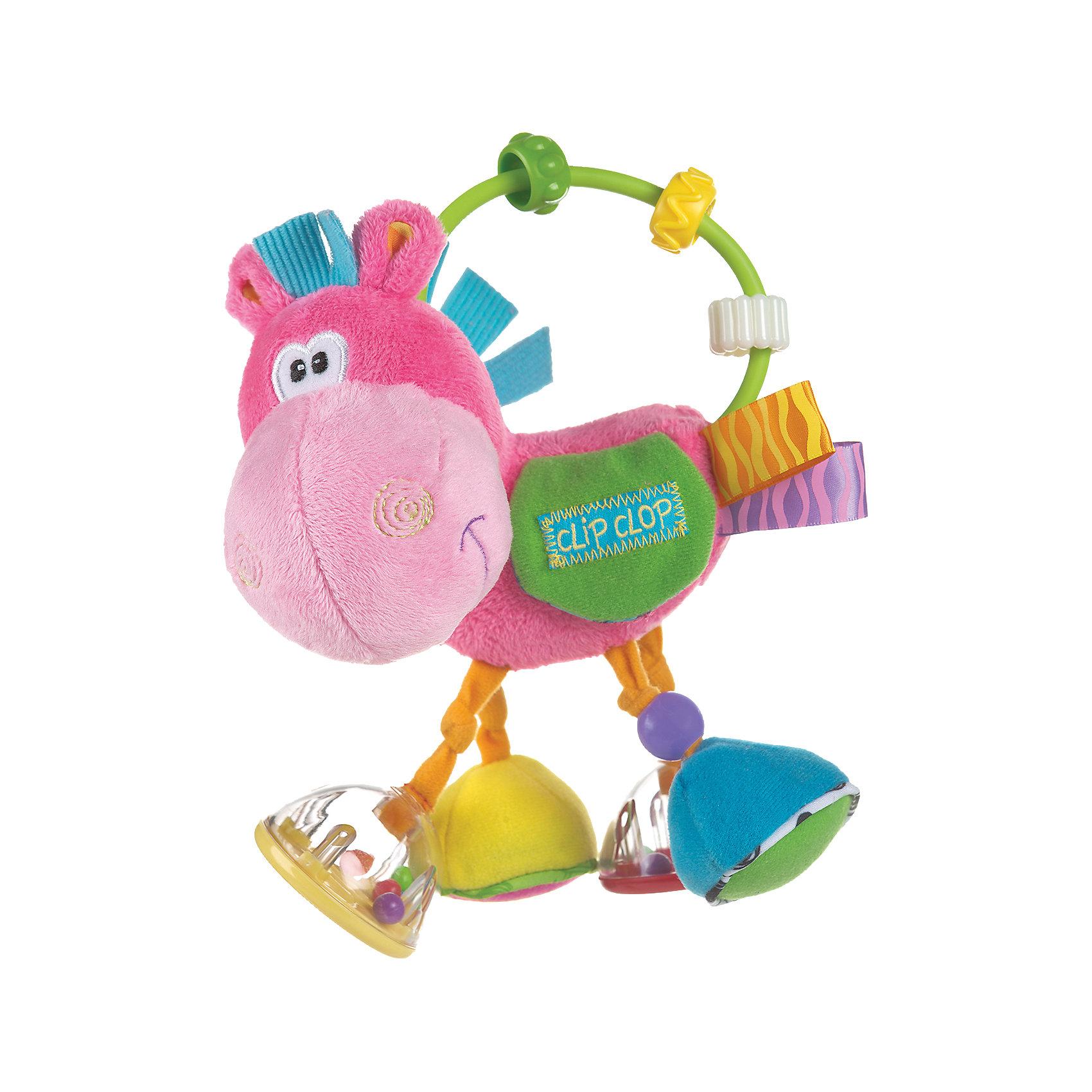 Игрушка-погремушка Ослик Клип Клоп, PlaygroПогремушки<br>Игрушка выполнена из разноцветной хлопчатобумажной ткани разной фактур. Все ножки ослика имеют <br>разнообразные игровые элементы: погремушка с зеркалом, погремушка с рифленым основанием, колокольчик, шуршалка с бусиной. На дугу нанизаны прозрачные бусинки, которые можно передвигать из стороны в сторону. Как только малыш откроет кармашек на липучке, ему откроется улыбающаяся мордочка бегемотика.                                                                                      Каждая ножка ослика – уникальный игровой элемент:<br>– погремушка с зеркалом<br>– погремушка с рифленым основанием<br>– колокольчик<br>– шуршалка с бусинкой<br>На дугу нанизаны прозрачные бусинки, которые можно передвигать. Сюрприз ждет малыша в кармашке на липучке – ему откроется улыбающаяся мордочка бегемотика. Игрушка выполнена из ярких, приятных на ощупь тканей разных фактур.<br>Игрушка способствует развитию визуального и слухового восприятия, навыков мелкой моторики,<br>двигательной активности, стимулирует тактильные ощущения, развивает пальчики и ручки малыша, хватательный рефлекс.<br><br>Ширина мм: 192<br>Глубина мм: 180<br>Высота мм: 91<br>Вес г: 139<br>Возраст от месяцев: 3<br>Возраст до месяцев: 12<br>Пол: Женский<br>Возраст: Детский<br>SKU: 3803414