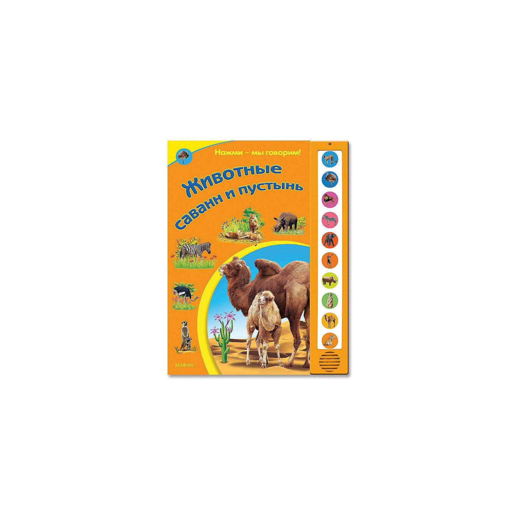 Книга с 10 кнопками Животные саванн и пустыньЖивотные саванн и пустынь, Азбукварик – это красочно иллюстрированная книга со звуковым модулем.<br>Книга Животные саванн и пустынь познакомит малыша с обитателями саванн и пустынь: гепардом, страусом, львом, зеброй, слоном, антилопой, сурикатом, верблюдом, лисичкой фенек. Из книжки он узнает, что едят животные, как они говорят, какие у них повадки, об их детенышах. Забавные стихи, красочные иллюстрации и кнопочки со звуками сделают знакомство с обитателями саванн и пустынь веселым и интересным. Все страницы книги сделаны из плотного картона с закругленными углами, так что ребенок легко и безопасно сможет их переворачивать.<br><br>Дополнительная информация:<br><br>- Автор: Ольга Уласевич<br>- Иллюстратор: Володенок О<br>- Издательство: Азбукварик<br>- Серия: Нажми - мы говорим<br>- Тип обложки: твердый переплет<br>- Оформление: частичная лакировка, со звуковым модулем<br>- На модуле с 10 звуками записаны настоящие голоса животных<br>- Тип иллюстраций: цветные<br>- Страниц: 10<br>- Бумага: картон<br>- Вес: 440 гр.<br>- Размеры: 300x235x8мм.<br>- Батарейки: 3 шт. типа AG13/LR44 (в комплект входят демонстрационные)<br><br>Книгу «Животные саванн и пустынь», Азбукварик можно купить в нашем интернет-магазине.<br><br>Ширина мм: 230<br>Глубина мм: 15<br>Высота мм: 300<br>Вес г: 470<br>Возраст от месяцев: 36<br>Возраст до месяцев: 72<br>Пол: Унисекс<br>Возраст: Детский<br>SKU: 3803640