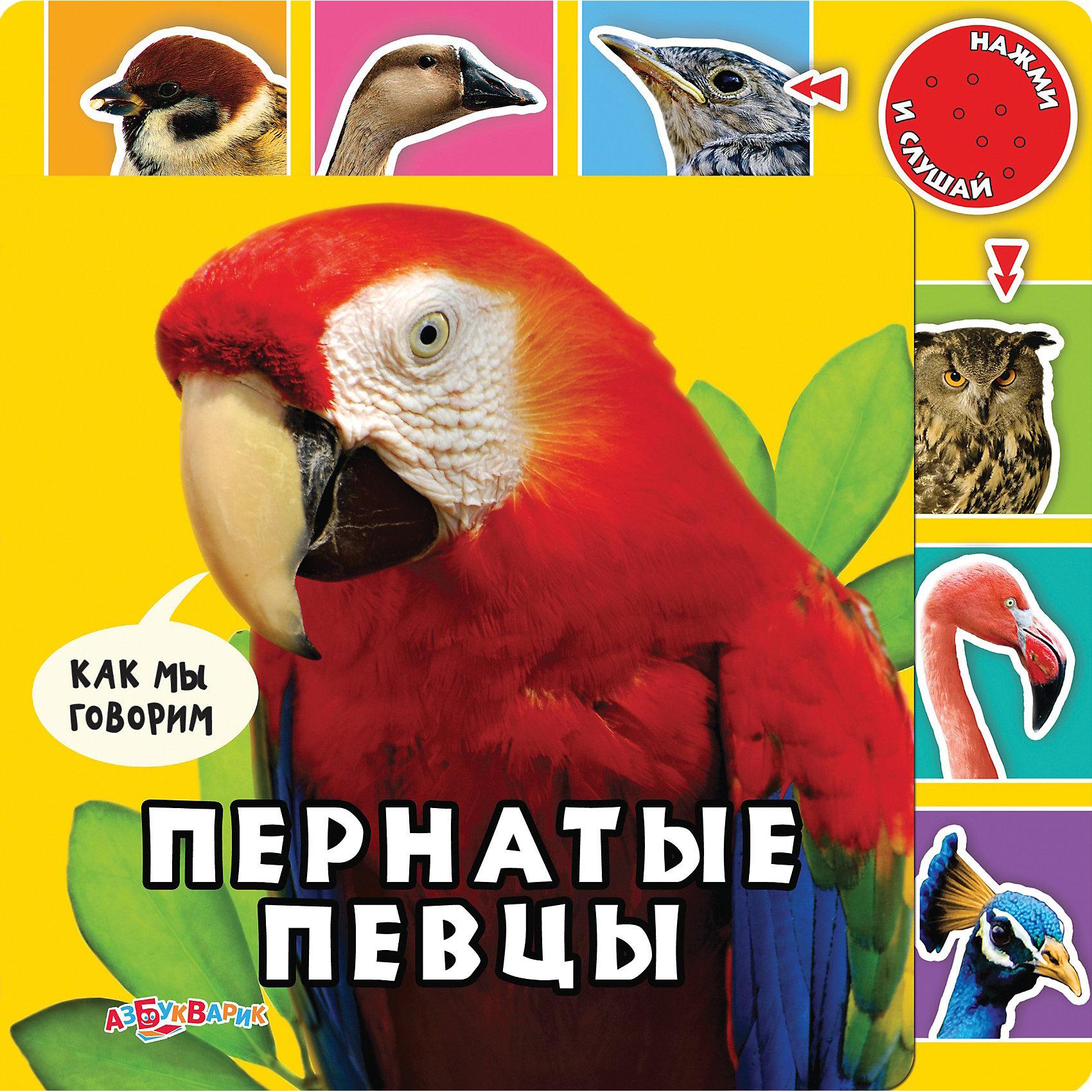 Книга с 6 кнопками Пернатые певцыПернатые певцы, Азбукварик – это красочно иллюстрированная книга со звуковым модулем.<br>Книга о животных для малышей иллюстрирована красочными фотографиями птиц. На её страницах ребёнку встретятся сорока, воробей, гусь, голубь, лебедь, кукушка, сова, дятел, страус и фламинго. Кроха сможет рассмотреть картинки и узнать весёлые короткие стихи о птицах. А ещё, нажимая на изображения птиц, он услышит их настоящие голоса!<br><br>Дополнительная информация:<br><br>- Автор: Валерия Зубкова<br>- Художник: Сысой Наталья<br>- Издательство: Азбукварик<br>- Серия: Как мы говорим<br>- Тип обложки: картонная обложка<br>- Оформление: частичная лакировка, вырубка, со звуковым модулем на 6 кнопок<br>- Тип иллюстраций: фотографии цветные <br>- Страниц: 12<br>- Бумага: картон<br>- Батарейки: 3 батарейки типа G10 (демонстрационные в комплекте)<br>- Вес: 390 гр.<br>- Размер книги: 21.5х21.5 см, размер страниц 18х18 см.<br><br>Книгу «Пернатые певцы», Азбукварик можно купить в нашем интернет-магазине.<br><br>Ширина мм: 215<br>Глубина мм: 15<br>Высота мм: 215<br>Вес г: 425<br>Возраст от месяцев: 36<br>Возраст до месяцев: 72<br>Пол: Унисекс<br>Возраст: Детский<br>SKU: 3803650