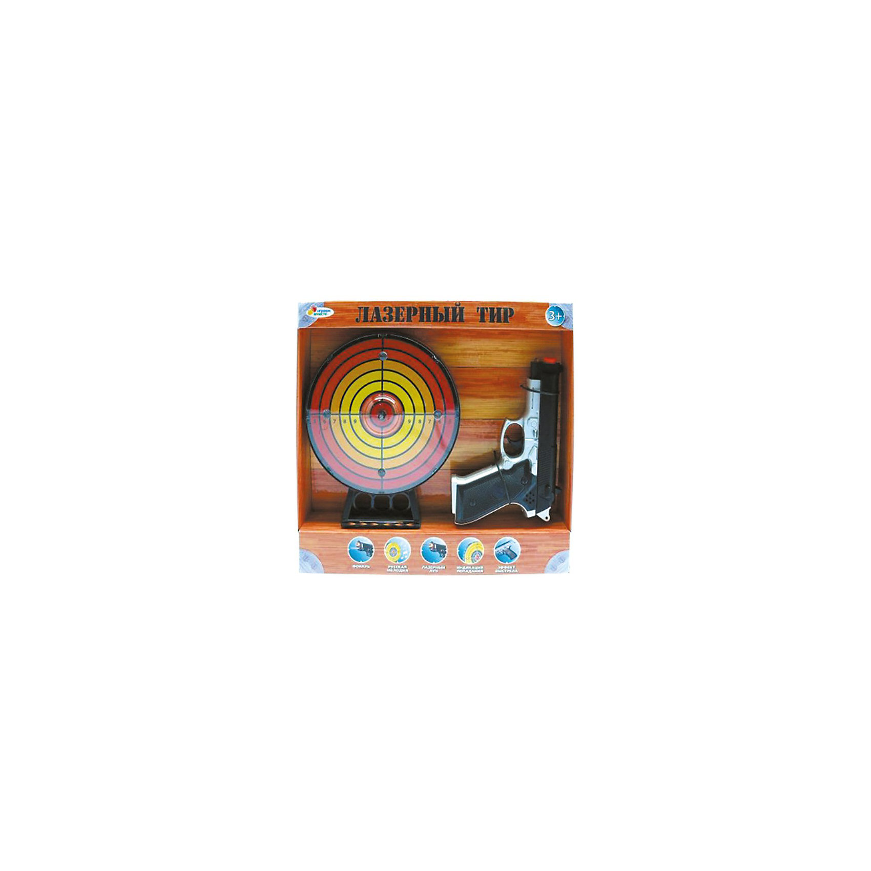 Игровой набор Лазерный тир, со светом и звуком, Играем вместеИгровые наборы<br>Игровой набор Лазерный тир, со светом и звуком, Играем вместе – это прекрасный игровой набор для мальчика.<br>Набор «Лазерный тир» – отличный подарок для любого мальчика, ведь благодаря нему ваш непоседа сможет развить невероятную меткость! При выстреле в яблочко мишень будет светиться, оповещая всех о том, какой меткий стрелок попал в цель. Игрушка сделана из качественного пластика и прослужит вам и вашему ребенку очень долго.<br><br>Дополнительная информация:<br><br>- В наборе: мишень, лазерный пистолет<br>- Батарейки: 6 x AA (в комплект не входят)<br>- Диаметр мишени: 18 см.<br>- Размер упаковки: 32х32х5 см.<br><br>Игровой набор Лазерный тир, со светом и звуком, Играем вместе купить в нашем интернет-магазине.<br><br>Ширина мм: 320<br>Глубина мм: 310<br>Высота мм: 50<br>Вес г: 540<br>Возраст от месяцев: 36<br>Возраст до месяцев: 60<br>Пол: Мужской<br>Возраст: Детский<br>SKU: 3804893