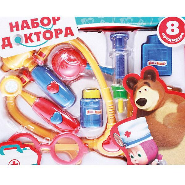Игровой набор Доктор, Маша и медведь, Играем вместеНаборы доктора и ветеринара<br>Игровой набор Доктор, Маша и медведь, Играем вместе – это развивающая игрушка лучший подарок для маленького исследователя.<br>Набор доктора «Маша и медведь» сделан по мотивам всеми любимого мультфильма: Мишка заболел, и Маше надо ему помочь! Если ваш малыш - поклонник вышеупомянутого мультсериала и мечтает в будущем стать доктором, то этот набор - именно то, что нужно! Ребенок будет в восторге от такого подарка! В наборе имеется все самое необходимое, что поможет вашему ребенку разобраться докторском деле.<br><br>Дополнительная информация:<br><br>- В наборе: 8 предметов<br>- Материал: пластик<br>- Размер упаковки: 32.5 х 25.5 х 4 см.<br><br>Игровой набор Доктор, Маша и медведь, Играем вместе можно купить в нашем интернет-магазине.<br>Ширина мм: 320; Глубина мм: 250; Высота мм: 40; Вес г: 290; Возраст от месяцев: 36; Возраст до месяцев: 60; Пол: Унисекс; Возраст: Детский; SKU: 3804906;