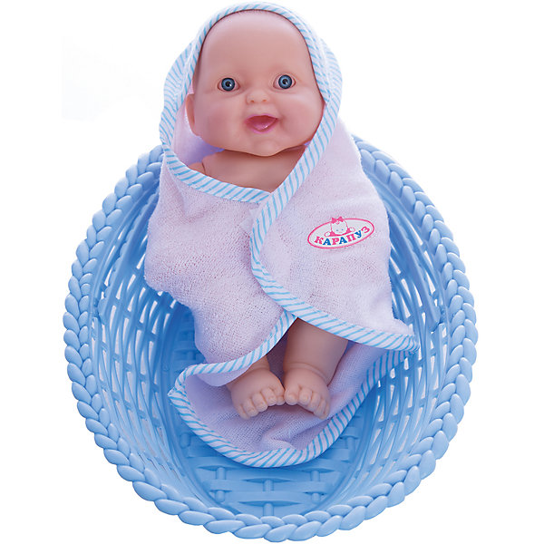 Пупс в корзинке-переноске, Карапуз, в ассортиментеКуклы<br>Пупс в корзинке-переноске, Карапуз, в ассортименте – это лучший подарок маленькой девочке!<br>Дочка с удовольствием играет в куклы? Значит, этот симпатичный пупс порадует вашу малышку! Его можно искупать, завернуть в мягкое полотенце на липучках, а потом покормить. Тело куклы сделано полностью из качественного пластика. А все кукольные принадлежности удобно хранить в прилагаемой прозрачной сумочке. В комплекте корзина-переноска с удобной ручкой. Играя, ребенок будет развивать творческие способности, воображение. И, конечно, забота о кукле воспитает в девочке все самые положительные качества!<br><br>Дополнительная информация:<br><br>- В наборе: пупс, корзина-переноска, аксессуары<br>- Размер пупса: 20 см.<br>- Материал: пластик, текстиль<br><br>ВНИМАНИЕ! Данный артикул представлен в разных вариантах исполнения. К сожалению, заранее выбрать определенный вариант невозможно. При заказе нескольких пупсов возможно получение одинаковых<br><br>Пупса в корзинке-переноске, Карапуз, в ассортименте можно купить в нашем интернет-магазине.<br><br>Ширина мм: 180<br>Глубина мм: 300<br>Высота мм: 70<br>Вес г: 360<br>Возраст от месяцев: 24<br>Возраст до месяцев: 60<br>Пол: Женский<br>Возраст: Детский<br>SKU: 3804915