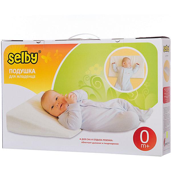 Подушка для младенцаПодушки<br>Полноценный и здоровый сон нужен малышам как воздух. Необходимое количество здорового сна является условием гармоничного физического и эмоционального развития. Подушка для младенца Selby (Селби) - обеспечит здоровый безопасный сон и правильное положение шейных отделов позвоночника. Во время сна улучшается кровоснабжение тканей и активизируется насыщение мозга кислородом. Поэтому чрезвычайно важно организовать спальное место малыша так, чтобы его сон приносил ему только пользу и хорошие сны. Подушка Selby (Селби) для младенца,  приподнимает верхнюю часть тела ребенка во время сна на 15 градусов. Именно такое положение тела рекомендовано педиатрами. Данная поза облегчает дыхание и пищеварение, а также уменьшает риск позиционной плагиоцевалии (уплощение головы). Подушку также рекомендуют в тех случаях, когда ребенок срыгивает, болеет простудой, имеет инфекцию уха или инфекцию дыхательных путей. Подушку можно размещать как поверх простыни, так и под простыню или матрац. Оболочка подушки легко стирается, что позволит Вам без труда сохранять ее чистой.<br><br>Дополнительная информация:<br><br>- Идеальна для детей с рождения;<br>- Материал: Верх: 80% хлопок, 20% полиэстер, наполнитель: полиуретан;<br>- Уход: машинная стирка (60 градусов) и деликатный отжим;<br>- Размер подушки: 59 x 35 x 9 см; <br>- Размер упаковки: 57 х 37 х 9,5 см; <br>- Угол наклона: 15 градусов;<br>- Вес: 0,4 кг;<br><br>Подушку для младенца можно купить в нашем интернет-магазине.<br>Ширина мм: 95; Глубина мм: 570; Высота мм: 370; Вес г: 1000; Возраст от месяцев: 0; Возраст до месяцев: 36; Пол: Унисекс; Возраст: Детский; SKU: 3805268;