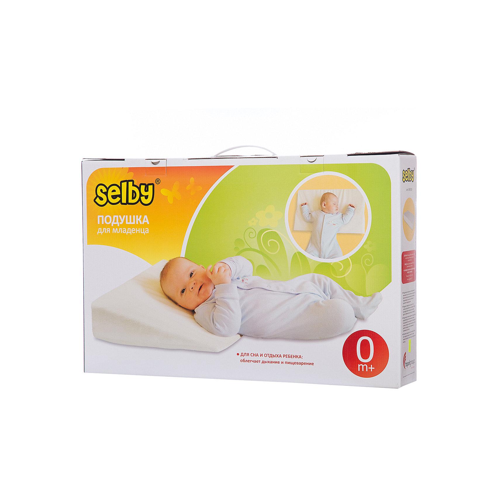 Подушка для младенцаПолноценный и здоровый сон нужен малышам как воздух. Необходимое количество здорового сна является условием гармоничного физического и эмоционального развития. Подушка для младенца Selby (Селби) - обеспечит здоровый безопасный сон и правильное положение шейных отделов позвоночника. Во время сна улучшается кровоснабжение тканей и активизируется насыщение мозга кислородом. Поэтому чрезвычайно важно организовать спальное место малыша так, чтобы его сон приносил ему только пользу и хорошие сны. Подушка Selby (Селби) для младенца,  приподнимает верхнюю часть тела ребенка во время сна на 15 градусов. Именно такое положение тела рекомендовано педиатрами. Данная поза облегчает дыхание и пищеварение, а также уменьшает риск позиционной плагиоцевалии (уплощение головы). Подушку также рекомендуют в тех случаях, когда ребенок срыгивает, болеет простудой, имеет инфекцию уха или инфекцию дыхательных путей. Подушку можно размещать как поверх простыни, так и под простыню или матрац. Оболочка подушки легко стирается, что позволит Вам без труда сохранять ее чистой.<br><br>Дополнительная информация:<br><br>- Идеальна для детей с рождения;<br>- Материал: Верх: 80% хлопок, 20% полиэстер, наполнитель: полиуретан;<br>- Уход: машинная стирка (60 градусов) и деликатный отжим;<br>- Размер подушки: 59 x 35 x 9 см; <br>- Размер упаковки: 57 х 37 х 9,5 см; <br>- Угол наклона: 15 градусов;<br>- Вес: 0,4 кг;<br><br>Подушку для младенца можно купить в нашем интернет-магазине.<br><br>Ширина мм: 95<br>Глубина мм: 570<br>Высота мм: 370<br>Вес г: 1000<br>Возраст от месяцев: 0<br>Возраст до месяцев: 36<br>Пол: Унисекс<br>Возраст: Детский<br>SKU: 3805268