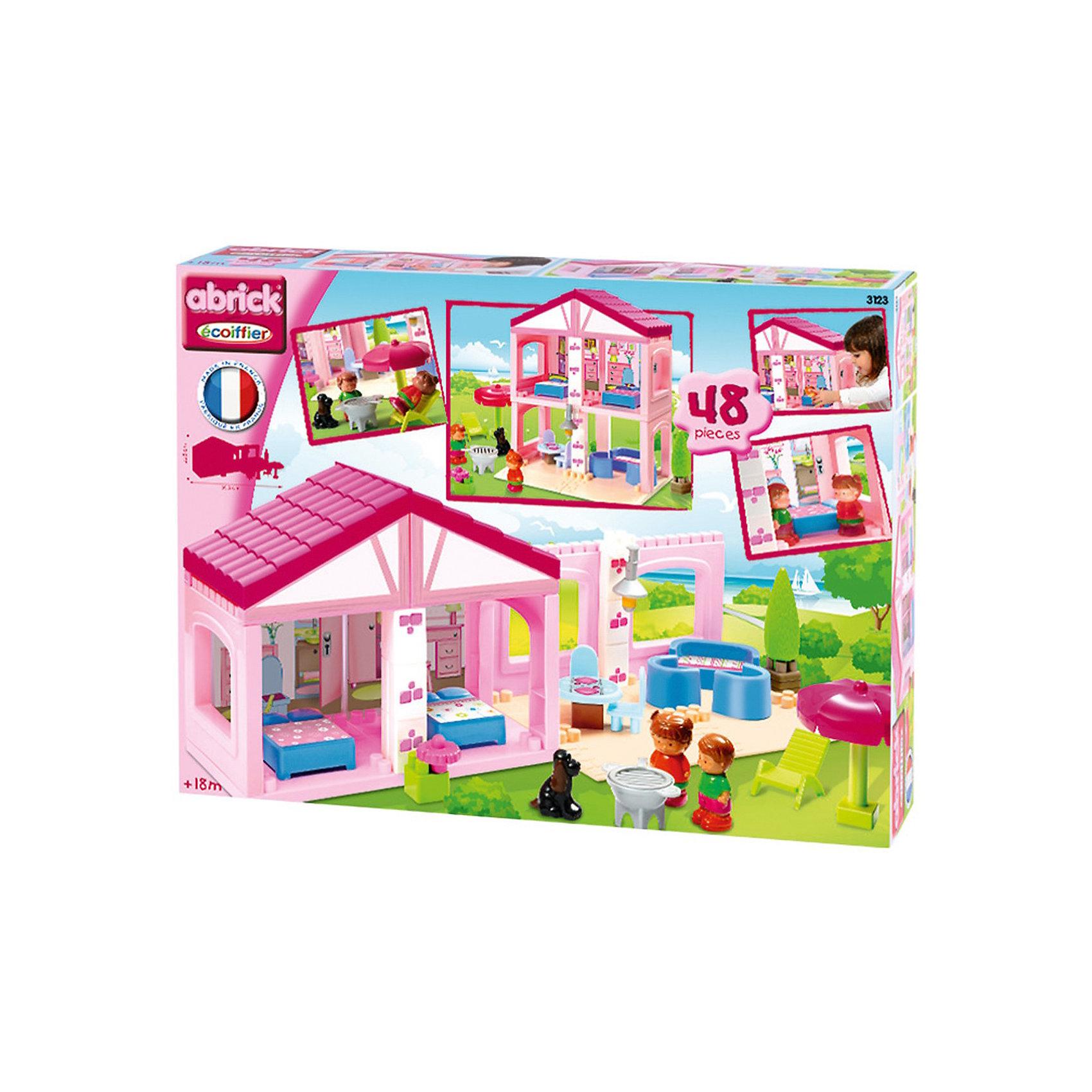 Конструктор Вилла, EcoiffierКонструктор Вилла, Ecoiffier - чудесный конструктор для девочки из крупных ярко-розовых деталей, который обязательно понравится маленькой принцессе. Игровой набор позволит ей построить роскошную виллу в двух вариантах: одноэтажную или двухэтажную. На вилле несколько уютных комнаток, в которых так удобно и весело живется их маленьким обитателям, мальчику с девочкой и их симпатичной собачке. Здесь есть и маленькая гостиная и столовая, и спальни. Входящая в комплект разнообразная игрушечная мебель и аксессуары позволит обставить комнатки на свой вкус.<br><br>Рядом с домиком можно разбить лужайку для отдыха с лежаком, зонтиком от солнца и барбекю. Все детали выполнены из прочного, безопасного и качественного пластика.<br><br>Дополнительная информация:<br><br>- В комплекте: 48 деталей.<br>- Материал: пластик.<br>- Размер упаковки: 59,5 х 21 х 22,5 см.<br>- Вес: 1,3 кг. <br><br>Игра с конструктором развивает мелкую моторику, фантазию и воображение ребенка, учит его усидчивости и внимательности.<br><br>Конструктор Вилла, Ecoiffier можно купить в нашем интернет-магазине.<br><br>Ширина мм: 370<br>Глубина мм: 110<br>Высота мм: 500<br>Вес г: 1310<br>Возраст от месяцев: 36<br>Возраст до месяцев: 60<br>Пол: Унисекс<br>Возраст: Детский<br>SKU: 3808407