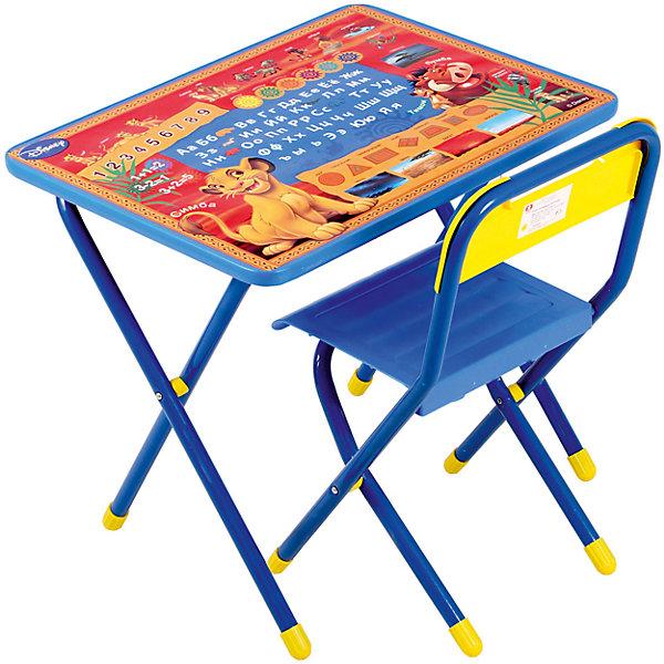 Набор мебели Тимон и Пумба (2-5 лет), Король Лев, синийДетские столы и стулья<br>Набор состоит из стола и стульчика, и идеально подходит для организации детских игр и занятий, как в дошкольных учреждениях, так и для домашнего использования. <br>Поверхность столешницы ламинированная, ее легко мыть и чистить. На столешницу нанесен яркий, красивый обучающий рисунок, позволяющий Вашему ребенку познакомиться с миром букв и цифр. После занятий при необходимости его можно сложить и убрать, что позволяет использовать его даже в малогабаритных помещениях.<br><br>Дополнительная информация:<br>В набор входит боковой пенал (пластмасса).<br>Размеры столешницы - 450Х600 мм.<br>Высота до плоскости столешницы - 460 мм.<br>Высота по сиденью - 260 мм.<br>Высота верхнего края спинки - 240 мм. <br>Допустимая нагрузка на сиденье - не более 30 кг.<br><br>Набор детской мебели Тимон и Пумба, Король Лев можно купить в нашем магазине.<br>Ширина мм: 740; Глубина мм: 640; Высота мм: 150; Вес г: 8000; Возраст от месяцев: 24; Возраст до месяцев: 60; Пол: Унисекс; Возраст: Детский; SKU: 3808410;