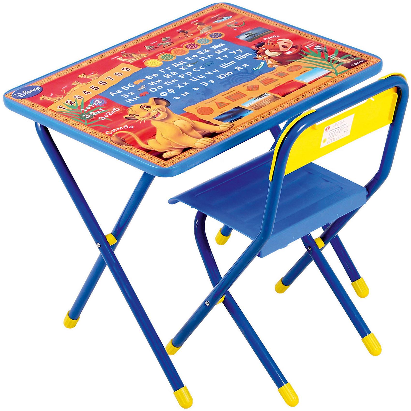 Набор мебели Тимон и Пумба (2-5 лет), Король Лев, синийМебель<br>Набор состоит из стола и стульчика, и идеально подходит для организации детских игр и занятий, как в дошкольных учреждениях, так и для домашнего использования. <br>Поверхность столешницы ламинированная, ее легко мыть и чистить. На столешницу нанесен яркий, красивый обучающий рисунок, позволяющий Вашему ребенку познакомиться с миром букв и цифр. После занятий при необходимости его можно сложить и убрать, что позволяет использовать его даже в малогабаритных помещениях.<br><br>Дополнительная информация:<br>В набор входит боковой пенал (пластмасса).<br>Размеры столешницы - 450Х600 мм.<br>Высота до плоскости столешницы - 460 мм.<br>Высота по сиденью - 260 мм.<br>Высота верхнего края спинки - 240 мм. <br>Допустимая нагрузка на сиденье - не более 30 кг.<br><br>Набор детской мебели Тимон и Пумба, Король Лев можно купить в нашем магазине.<br><br>Ширина мм: 740<br>Глубина мм: 640<br>Высота мм: 150<br>Вес г: 8000<br>Возраст от месяцев: 24<br>Возраст до месяцев: 60<br>Пол: Унисекс<br>Возраст: Детский<br>SKU: 3808410