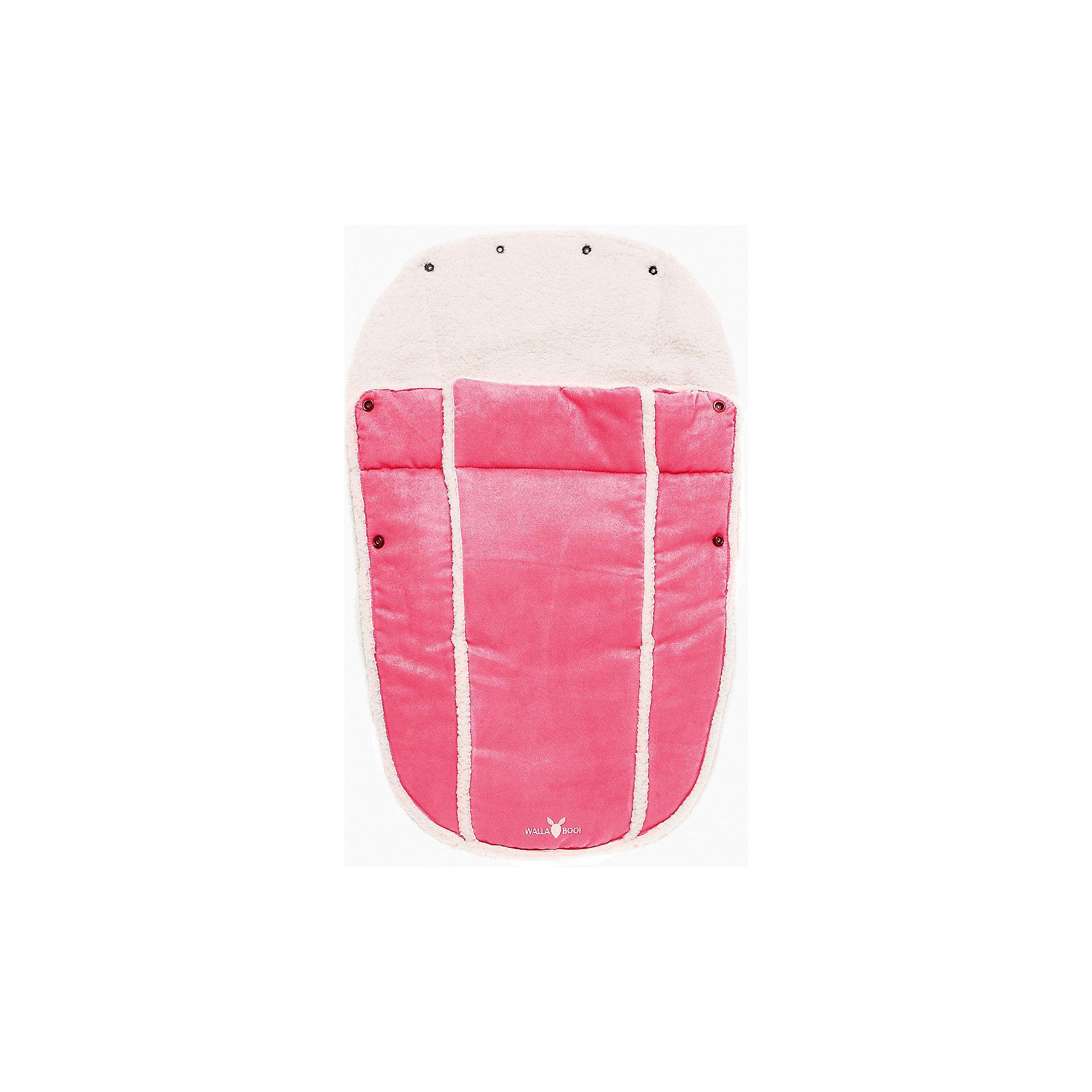 Конверт в коляску 0-12 месяцев, Wallaboo, розовыйВаш малыш не любит одеваться? Просто посадите его в уютный конверт, и Вы готовы к путешествию!<br><br>Конверт в коляску 0-12 мес., Wallaboo отличает великолепное качество: верх - микроволокнистая замша (гипоаллергенна, легка в уходе), а  внутри - мягчайший плюш под овечью шкурку. Конверт специально создан для удобства родителей и комфорта малыша: нет необходимости дополнительно надевать на ребенка курточку или теплый комбинезон в прохладную погоду или во время перевозки малыша в автомобиле.<br>Конверт многофункциональный:    <br>- легко пристегивается к автокреслу группы 0 и 0+<br>- можно использовать как конверт на выписку из роддома<br>- если отстегнуть верхнюю часть, муфта превращается в мягкий чехол-подкладку <br><br>Удобно Вам и комфортно малышу:<br><br>- верхняя часть конверта при помощи специальных кнопок образует капюшон и защищает малыша от ветра и непогоды<br>- две боковые застежки-молнии по всей длине конверта, позволяют полностью и очень быстро отстегнуть верхнюю часть муфты от внутренней<br><br>Дополнительная информация:<br><br>- Наполнитель – синтепон 120 грамм.<br>- Подходит для кресел с 3-х и 5-титочечными ремнями безопасности<br>- Машинная стирка при температуре 30 градусов. Быстро сохнет.<br>- Размер: 45 х 72 см<br>- Вес: 500 г<br><br>Конверт в коляску 0-12 месяцев, Wallaboo, розовый можно купить в нашем магазине.<br><br>Ширина мм: 450<br>Глубина мм: 350<br>Высота мм: 70<br>Вес г: 500<br>Цвет: розовый<br>Возраст от месяцев: 0<br>Возраст до месяцев: 12<br>Пол: Женский<br>Возраст: Детский<br>SKU: 3812566