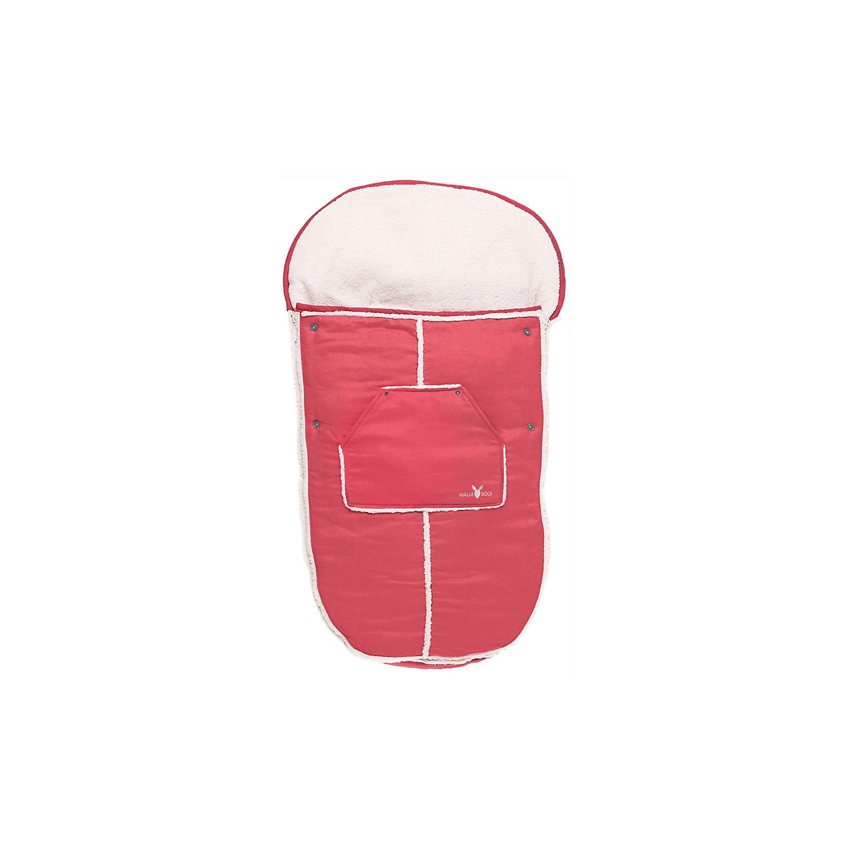 Конверт в коляску от 0-36 мес., Wallaboo, красныйКонверт в коляску от 0-36 мес., Wallaboo окутает Вашего малыша теплом и нежностью с головы до пят!<br><br>Конверт отличает великолепное качество: верх - микроволокнистая замша или изысканная и мягкая искусственная кожа; внутри - мягчайший плюш под овечью шкурку. Эта стильная и удобная вещь специально придумана для долгих прогулок, во время которых малыш остается в тепле и комфорте, ему уютно и мягко сидеть!<br>        <br>Конверт многофункциональный:<br>- легко пристегивается к любой модели коляски<br>- можно использовать как мягкий чехол-конверт для санок<br>- если отстегнуть верхнюю часть, муфта-конверт превращается в мягкий чехол-подкладку <br><br>Удобно Вам и комфортно малышу: <br>- «капюшон» муфты (на резинке)  легко закрепляется на верхней части коляски и не дает ему сползать<br>- муфта-конверт отлично защищает малыша от ветра и непогоды<br>- в специальный большой карман можно положить любимую игрушку малыша, бутылочку или другие необходимые Вам вещи<br>- две боковые застежки-молнии, расположенные по всей длине муфты, позволяют полностью и очень быстро отстегнуть верхнюю часть муфты от внутренней и высадить малыша из коляски<br><br>Дополнительная информация:<br><br>- Наполнитель: синтепон 120 грамм.<br>- Подходит для колясок с 3-х и 5-титочечными ремнями безопасности<br>- Машинная стирка при температуре 30 градусов. <br>- Размер: 48 х 100 см <br>- Вес: 800 г<br><br>Конверт в коляску от 0-36 мес., Wallaboo, красный можно купить в нашем магазине.<br><br>Ширина мм: 600<br>Глубина мм: 500<br>Высота мм: 90<br>Вес г: 800<br>Возраст от месяцев: 0<br>Возраст до месяцев: 36<br>Пол: Унисекс<br>Возраст: Детский<br>SKU: 3812569