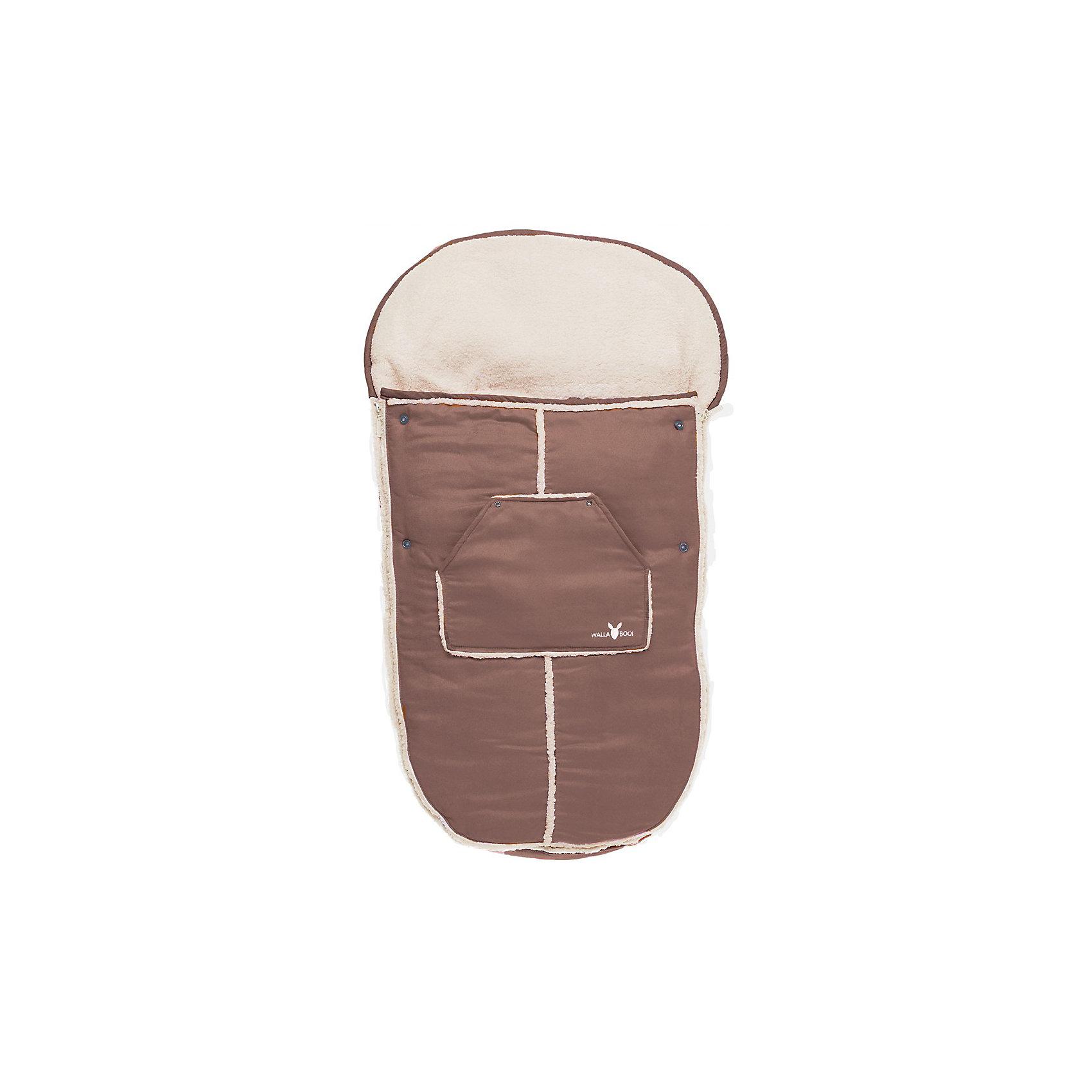 Конверт в коляску от 0-36 мес., Wallaboo, шоколадКонверт в коляску от 0-36 мес., Wallaboo окутает Вашего малыша теплом и нежностью с головы до пят!<br><br>Конверт отличает великолепное качество: верх - микроволокнистая замша или изысканная и мягкая искусственная кожа (цвет черный); внутри - мягчайший плюш под овечью шкурку. Эта стильная и удобная вещь специально придумана для долгих прогулок, во время которых малыш остается в тепле и комфорте, ему уютно и мягко сидеть!<br>        <br>Конверт многофункциональный:<br>- легко пристегивается к любой модели коляски<br>- можно использовать как мягкий чехол-конверт для санок<br>- если отстегнуть верхнюю часть, муфта-конверт превращается в мягкий чехол-подкладку <br><br>Удобно Вам и комфортно малышу: <br>- «капюшон» муфты (на резинке)  легко закрепляется на верхней части коляски и не дает ему сползать<br>- муфта-конверт отлично защищает малыша от ветра и непогоды<br>- в специальный большой карман можно положить любимую игрушку малыша, бутылочку или другие необходимые Вам вещи<br>- две боковые застежки-молнии, расположенные по всей длине муфты, позволяют полностью и очень быстро отстегнуть верхнюю часть муфты от внутренней и высадить малыша из коляски<br><br>Дополнительная информация:<br><br>- Наполнитель: синтепон 120 грамм.<br>- Подходит для колясок с 3-х и 5-титочечными ремнями безопасности<br>- Машинная стирка при температуре 30 градусов. <br>- Размер: 48 х 100 см <br>- Вес: 800 г<br><br>Конверт в коляску от 0-36 мес., Wallaboo, шоколад можно купить в нашем магазине.<br><br>Ширина мм: 600<br>Глубина мм: 500<br>Высота мм: 90<br>Вес г: 800<br>Возраст от месяцев: 0<br>Возраст до месяцев: 36<br>Пол: Унисекс<br>Возраст: Детский<br>SKU: 3812570