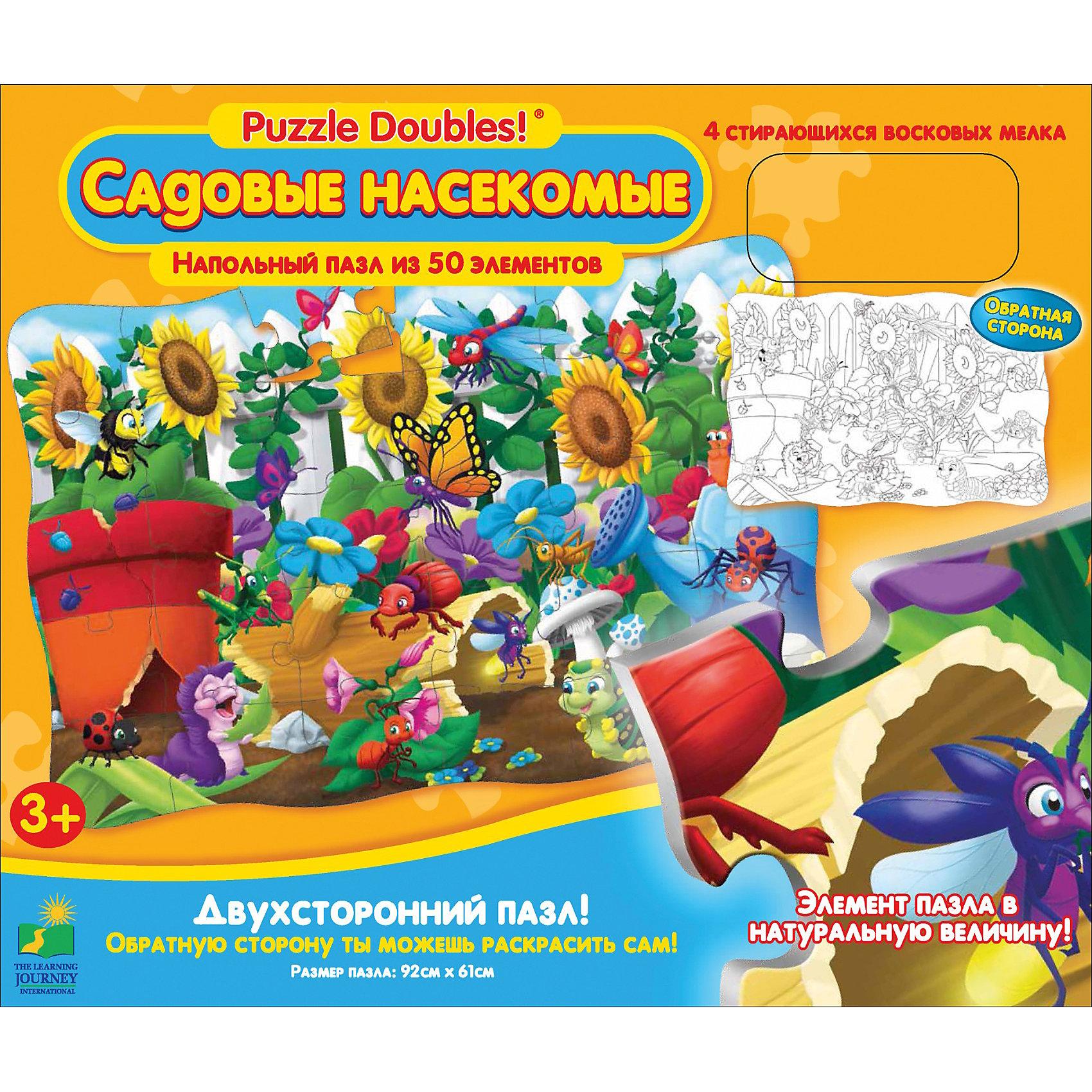 Настольная игра Садовые насекомые: Веселые Жуки, пазл 50 деталей, 4 карандаша (от 3-х лет)