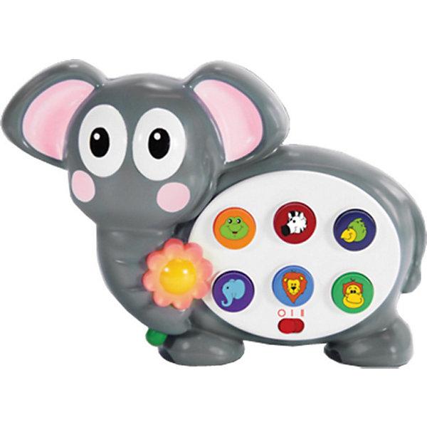 Весёлый слоник, со светом и звуком, 23см,  The Learning JourneyИнтерактивные животные<br>Весёлый слоник, The Learning Journey - очаровательная развивающая игрушка, которая обязательно привлечет внимание Вашего малыша. Игрушка выполнена в виде забавного слоненка с разноцветными кнопочками. Если на них нажать, загораются лампочки и звучат голоса животных, изображенных на кнопочках: льва, слона, обезьяны и других. Игрушка развивает логическое мышление, звуковое  и сенсорное восприятие ребенка.<br><br>Дополнительная информация:<br><br>- Требуются батарейки: 2 батареек АА (входят в комплект).<br>- Материал: пластик.<br>- Высота игрушки: 20 см.<br>- Размер упаковки: 24 х 7,6 х 23 см.<br>- Вес: 0,53 кг. <br><br>Развивающую игрушку Весёлый слоник, The Learning Journey можно купить в нашем интернет-магазине.<br><br>Ширина мм: 240<br>Глубина мм: 76<br>Высота мм: 230<br>Вес г: 530<br>Возраст от месяцев: 24<br>Возраст до месяцев: 72<br>Пол: Унисекс<br>Возраст: Детский<br>SKU: 3813003