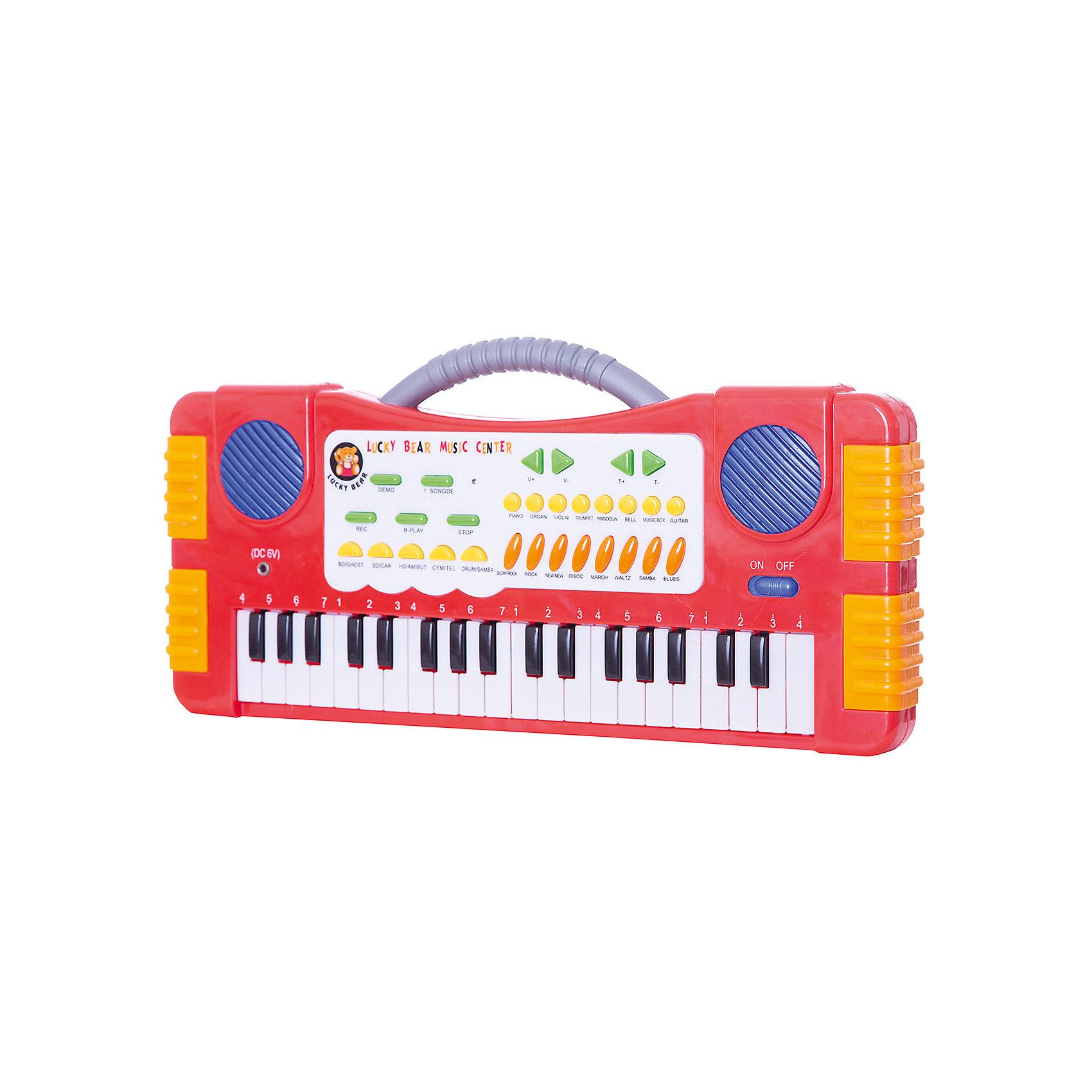 Синтезатор детский, 37 клавиш,  DoReMiСинтезатор, DoReMi станет замечательным подарком для Вашего ребенка и привлечет его к занятиям музыкой. Игрушку можно использовать как пианино с 37 клавишами, удобными для детских пальчиков и как синтезатор. Синтезатор обладает множеством функций которые позволяют создавать свои собственные композиции, экспериментируя с звуком и меняя тон и темп. На панели имеются кнопки с 8 звуками музыкальных инструментов, 4 звуками электронной барабанной установки, 8 темпами ритма, а также с 5<br>записанными песнями.<br><br>Уровень громкости регулируется, а с помощью функции записи ребенок сможет сохранить созданные им композиции и воспроизвести их после. Работает от 4 батареек типа АА (не входят в комплект) или DC6V адаптера (входит в комплект). Игрушка развивает у ребенка чувство ритма, двигательную активность рук и музыкальный слух.<br><br>Дополнительная информация:<br><br>- Материал: пластик.<br>- Требуются батарейки: 4 х АА (не входят в комплект).<br>- Размер: 46 x 22 x 4,5 см.<br>- Вес: 0,958 кг.<br><br>Синтезатор, DoReMi можно купить в нашем интернет-магазине.<br><br>Ширина мм: 460<br>Глубина мм: 220<br>Высота мм: 45<br>Вес г: 970<br>Возраст от месяцев: 60<br>Возраст до месяцев: 84<br>Пол: Унисекс<br>Возраст: Детский<br>SKU: 3813014