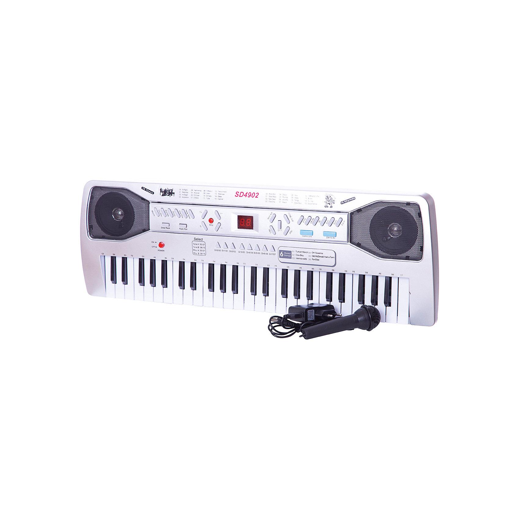 Синтезатор, 49 клавиш,  DoReMiСинтезатор, DoReMi станет замечательным подарком для Вашего ребенка и привлечет его к занятиям музыкой. Игрушку можно использовать как пианино с 49 клавишами, удобными для детских пальчиков и как синтезатор. Синтезатор обладает множеством функций которые позволяют создавать свои собственные композиции, экспериментируя с звуком и меняя тон и темп. На панели Вы найдете 2 дисплея и следующие кнопки: 16 звуков музыкальных инструментов,  16 темпов ритма, 8 звуков электронной барабанной<br>установки, 6 песен.<br><br>Уровень громкости регулируется (16 уровней громкости), есть функция 32-х кратного увеличение темпа. Если включить входящий в комплект караоке-микрофон то можно почувствовать себя настоящим певцом и устраивать настоящие концерты. А с помощью функции записи ребенок сможет сохранить созданные им композиции и воспроизвести их после. Предусмотрен режим обучения и автоматическое отключение. Синтезатор работает от встроенного адаптера 9V DC AC 220V или 6 батареек типа АА. Игрушка развивает у ребенка чувство ритма, двигательную активность рук и музыкальный слух.<br><br>Дополнительная информация:<br><br>- В комплекте: синтезатор, зарядное устройство, микрофон.<br>- Материал: пластик, металл.<br>- Требуются батарейки: 6 батареек типа АА (не входят в комплект). <br>- Размер игрушки: 59 х 20 х 5 см.<br>- Размер упаковки: 62 х 23,5 х 8,5 см.<br>- Вес: 1,611 кг.<br><br>Синтезатор, DoReMi можно купить в нашем интернет-магазине.<br><br>Ширина мм: 620<br>Глубина мм: 90<br>Высота мм: 238<br>Вес г: 1611<br>Возраст от месяцев: 60<br>Возраст до месяцев: 84<br>Пол: Унисекс<br>Возраст: Детский<br>SKU: 3813016
