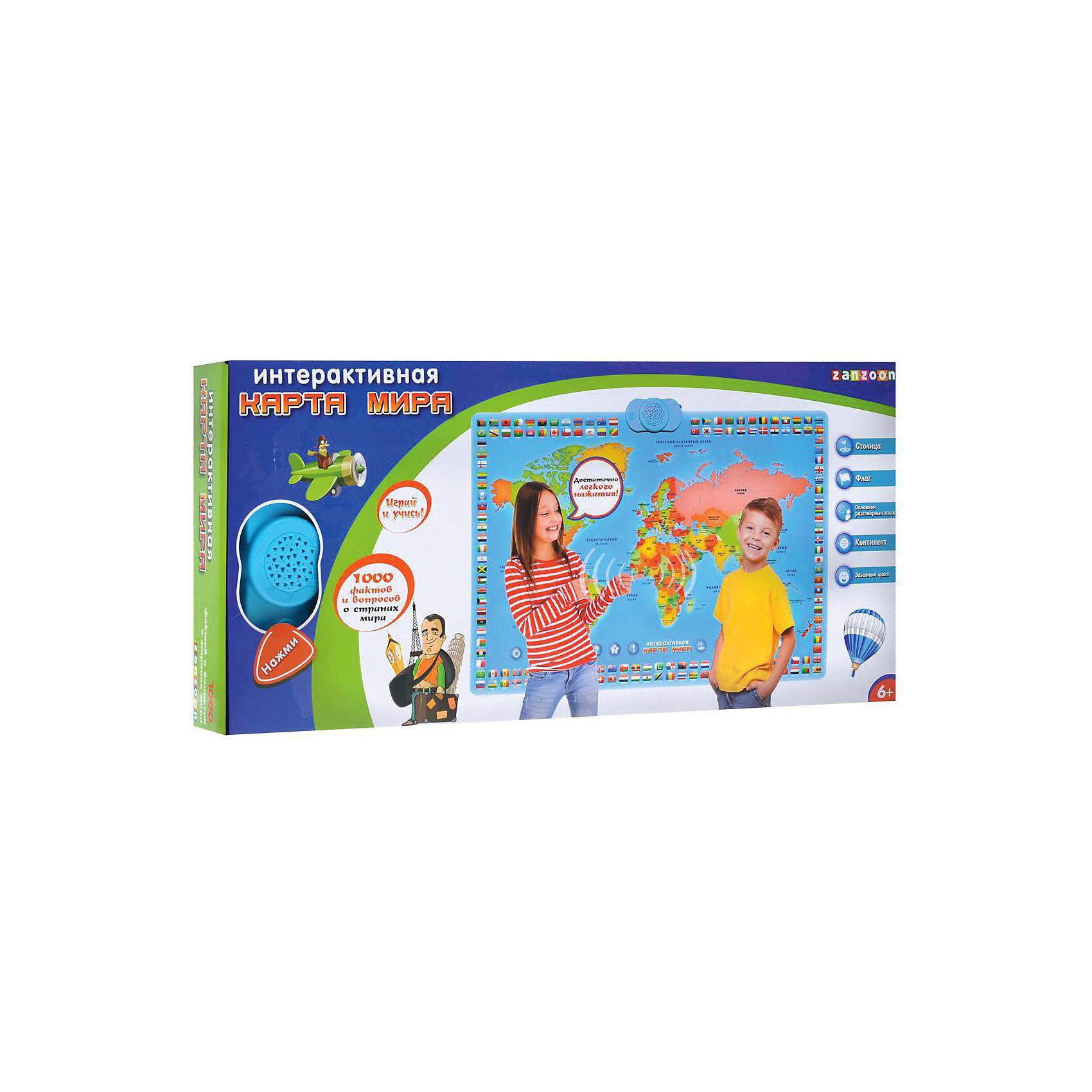 Карта мира интерактивная, ZanZoonОбучающие плакаты и планшеты<br>Интерактивная карта мира, ZanZoon - увлекательная обучающая игра, которая в игровой форме познакомит Вашего ребенка с основами географии, различными странами и континентами. В процессе игры ребенок узнает особенности 78 разных стран, факты о них, их столицы. Карта познакомит его с континентами и некоторыми интересными фактами истории. Полученные знания он сможет закрепить, отвечая на вопросы викторины, после каждого правильно угаданного ответа раздаётся приятная поздравительная мелодия. <br><br>Также Карта мира включает три мини-игры: 1. в викторине  нужно найти страну на карте, 2. в супер-игре ребёнку задаются вопросы о странах, их столицах, основных  языках, 3. в блиц- игре два ребёнка соревнуются в наборе очков за свои знания. Карта хорошо работает как на стене, так и на горизонтальном покрытии. Для игры необходимо всего лишь нажать на интерактивную страну на карте.<br><br>Дополнительная информация:<br><br>- Требуются батарейки: 3 х ААА/ LR03 (входят в комплект).<br>- Материал: пластик.<br>- Размер карты: 90 х 60 см. <br>- Размер упаковки:  65 x 30 x 8 см.<br>- Вес: 1 кг.<br><br>Интерактивную карту мира, ZanZoon можно купить в нашем интернет-магазине.<br><br>Ширина мм: 650<br>Глубина мм: 75<br>Высота мм: 300<br>Вес г: 1033<br>Возраст от месяцев: 60<br>Возраст до месяцев: 168<br>Пол: Унисекс<br>Возраст: Детский<br>SKU: 3813020
