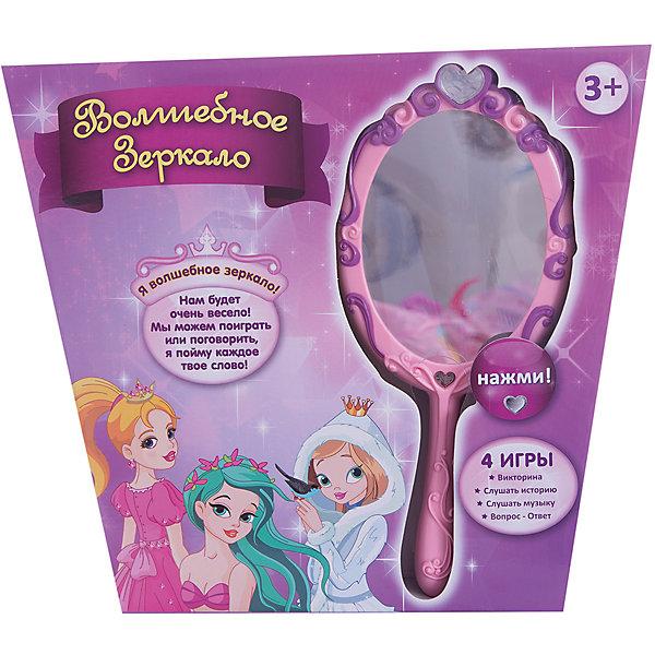 Волшебное зеркало, со светом и звуком, ZanZoonИнтерактивные игрушки для малышей<br>Волшебное зеркало, ZanZoon - необычная оригинальная игрушка, которая обязательно понравится Вашей девочке. С волшебным зеркальцем можно разговаривать и получать от него ответы. Игрушка содержит 4 увлекательных игры:<br><br> - Игра Викторина - Волшебное зеркало задает девочке вопросы, выслушав которые оно подскажет на какую из 20-ти принцесс она похожа;<br> - Игра Слушать историю- Волшебное зеркало расскажет 10 увлекательных историй о принцессах;<br> - Режим Слушать музыку - Волшебное зеркало сыграет красивые мелодичные классические мелодии;<br>-  Блиц-игра Вопрос ответ - девочка задает любой из 10 предложенных вопросов, и зеркало ей отвечает.<br>Игра сопровождается световыми и звуковыми эффектами. Игрушка развивает тактильные навыки, зрительную координацию, мелкую моторику рук.<br><br>Дополнительная информация:<br><br>- Требуются батарейки: 3 х ААА/ LR03 (входят в комплект).<br>- Материал: пластик.<br>- Размер упаковки: 33 х 20 х 9 см. <br><br>Волшебное зеркало, со светом и звуком, ZanZoon можно купить в нашем интернет-магазине.<br>Ширина мм: 258; Глубина мм: 115; Высота мм: 30; Вес г: 0; Возраст от месяцев: 36; Возраст до месяцев: 168; Пол: Женский; Возраст: Детский; SKU: 3813021;