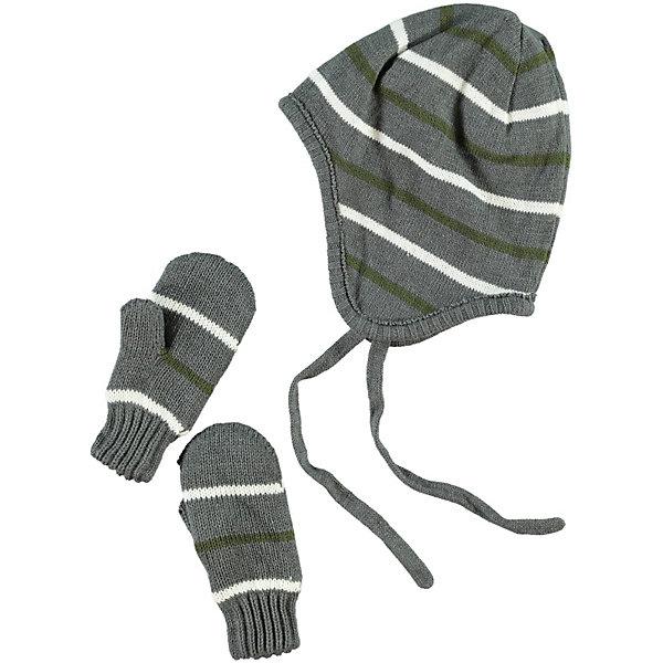Комплект для мальчика: шапка и варежки name itГоловные уборы<br>Шапка для мальчика name it. Практичная демисезонная шапка в полоску. Выполнена из высококачественного материала не теряет форму после стирки. Модель на завязках, хорошо защищает уши ребенка. Шапку очень удобно носить под капюшоном. <br><br>Дополнительная информация:<br><br>- Цвет: серый, белый<br>- На завязках<br>- Сезон: весна, осень<br>- Температурный режим: от +5? до - 5?<br>параметры для размера 51-52<br>- глубина: 21.0 см<br>- обхват: 51.0 см<br><br>состав: <br>50% хлопок, 50% акрил<br><br>Шапку для мальчика name it (нэйм ит) можно купить в нашем магазине.<br>Ширина мм: 89; Глубина мм: 117; Высота мм: 44; Вес г: 155; Цвет: темно-серый; Возраст от месяцев: 12; Возраст до месяцев: 24; Пол: Мужской; Возраст: Детский; Размер: 5,6,4; SKU: 3813469;