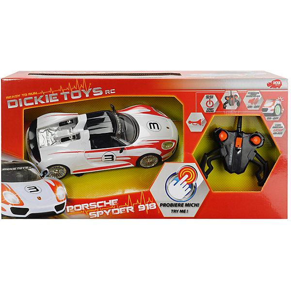 Машинка на р/у Porsche Spyder 1:16, 26см, DickieРадиоуправляемые машины<br>Уменьшенная модель автомобиля Porsche Spyder позволит вашему ребенку почувствовать себя настоящим гонщиком! Машина прекрасно детализирована и реалистично раскрашена, может передвигаться во все стороны, оснащена звуковыми и световыми эффектами. Игрушка выполнена из прочных экологичных материалов, в производстве которых использованы нетоксичные, безопасные красители. <br><br>Дополнительная информация:<br><br>- Материал: пластик, металл.<br>- Размер: 26 см.<br>- Масштаб: 1:16.<br>- Максимальная скорость: 10 км/ч.<br>- Световые, звуковые эффекты. <br>- Комплектация: машина, пульт ДУ, инструкция. <br>- Элемент питания: батарейки (в комплекте).<br><br>Машинку на р/у Porsche Spyder 1:16, 26см, Dickie (Дикки), можно купить в нашем магазине.<br>Ширина мм: 401; Глубина мм: 256; Высота мм: 175; Вес г: 1255; Возраст от месяцев: 72; Возраст до месяцев: 120; Пол: Мужской; Возраст: Детский; SKU: 3816278;