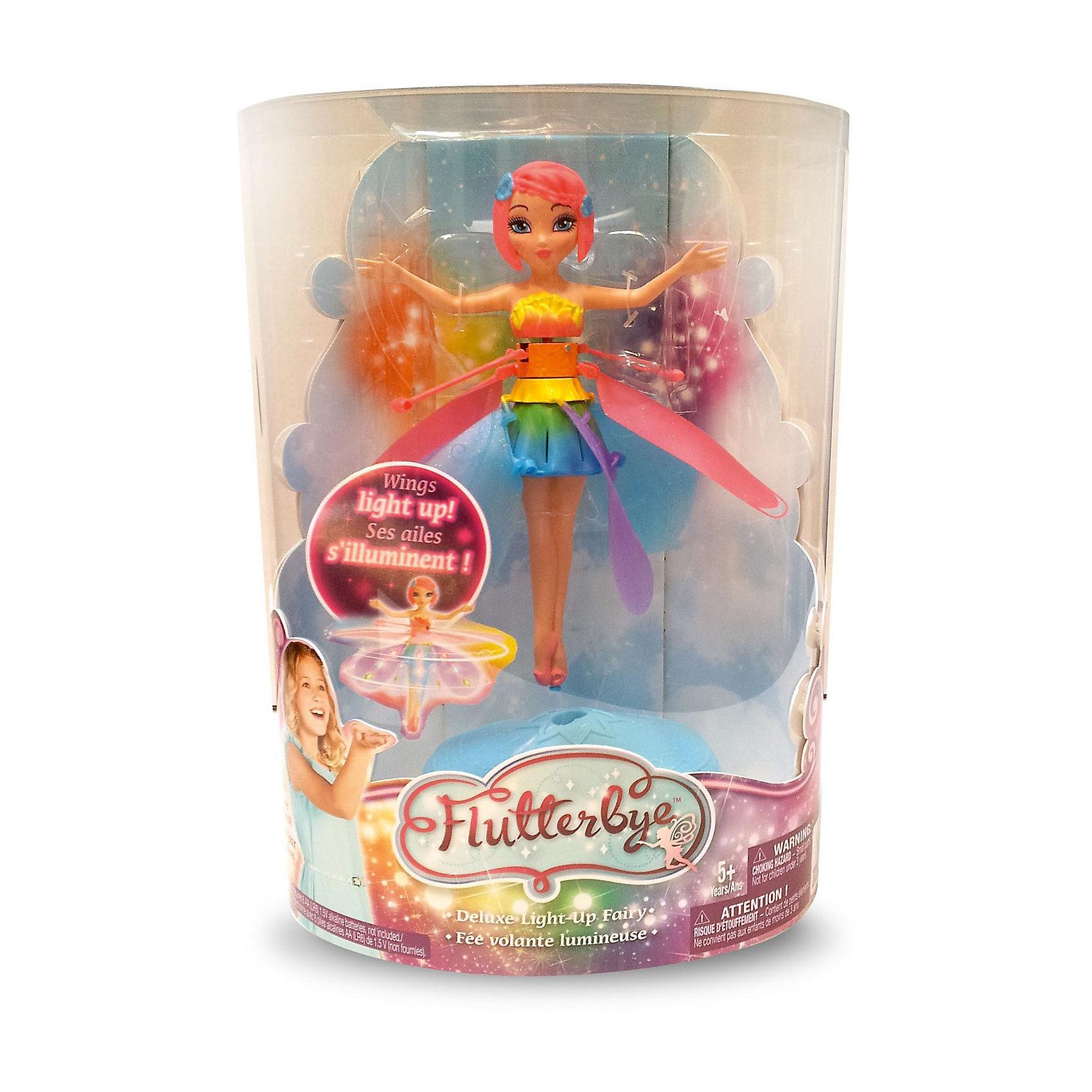 Фея с подсветкой, парящая в воздухе,  Flying FairyФея с подсветкой, парящая в воздухе, Flying Fairy - оригинальная летающая кукла, которая вызовет восторг у Вашей девочки. Куколка выглядит как настоящая волшебная фея и одета в яркое разноцветное платье с юбочкой, которая светится во время полета. Крылышки у феи снимаются, и с ней можно играть, как с обычной игрушкой. Кукольная фея может взлетать на небольшую высоту и парить в воздухе. <br><br>Для запуска феи нужно установить ее на специальную платформу и нажать стартовую кнопку в форме губ – фея взлетит. Для управления полетом пульт не требуется, нужно лишь поднести  к ножкам куклы ладонь и она будет парить в направлении движения Вашей руки: с поднятием руки взлетать чуть выше, а с опусканием - снижаться.  Играть с феей можно как дома так и на улице. Кукла может летать непрерывно в течение 5-8 минут. Чтобы подзарядить игрушку, нужно поставить ее на подставку, внутри которой находится зарядное устройство. Минимальное время зарядки 5 минут, полная зарядка - 30 мин. <br><br>Дополнительная информация:<br><br>- В комплекте: кукла, подставка (зарядное устройство и платформа для запуска одновременно), инструкция..<br>- Материал: пластик.<br>- Требуются батарейки: 6 х AA (не входят в комплект).<br>- Высота куклы: 20 см.<br>- Размер упаковки: 18 х 28 х 14 см.<br>- Вес: 0,64 кг. <br><br>Куклу Фея с подсветкой, парящая в воздухе, Flying Fairy (Летающая фея) можно купить в нашем интернет-магазине.<br><br>Ширина мм: 292<br>Глубина мм: 205<br>Высота мм: 132<br>Вес г: 342<br>Возраст от месяцев: 36<br>Возраст до месяцев: 120<br>Пол: Женский<br>Возраст: Детский<br>SKU: 3819823