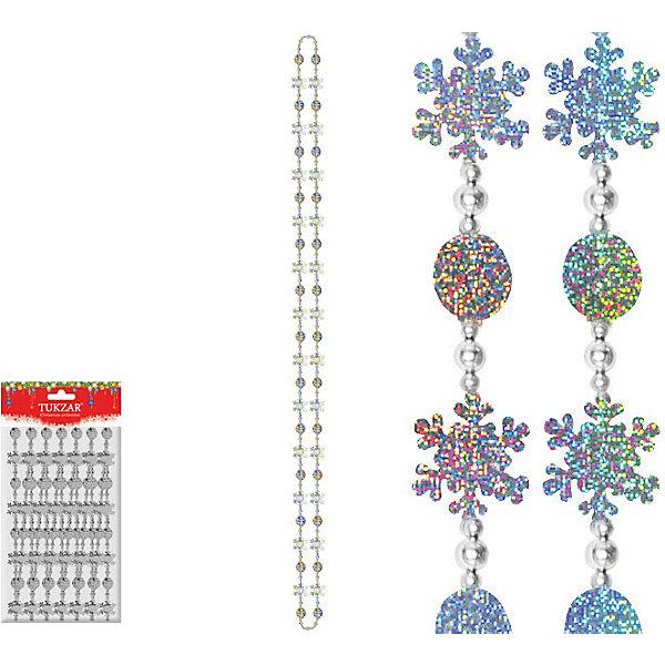 Бусы декоративные пластиковые со снежинками, 2,7 мНовогодняя мишура и бусы<br>Бусы декоративные пластиковые со снежинками. Оригинальная гирлянда из снежинок  станет прекрасным дополнением к любым новогодним украшениям. Можно использовать для оформления интерьеров. <br><br>Дополнительная информация:<br><br>- Материал: пластик<br>- Размер гирлянды: 2.7 м<br>- Цвет: серебряный<br><br>Бусы декоративные пластиковые со снежинками можно купить в нашем магазине.<br><br>Ширина мм: 60<br>Глубина мм: 100<br>Высота мм: 100<br>Вес г: 60<br>Возраст от месяцев: 36<br>Возраст до месяцев: 216<br>Пол: Унисекс<br>Возраст: Детский<br>SKU: 3822079