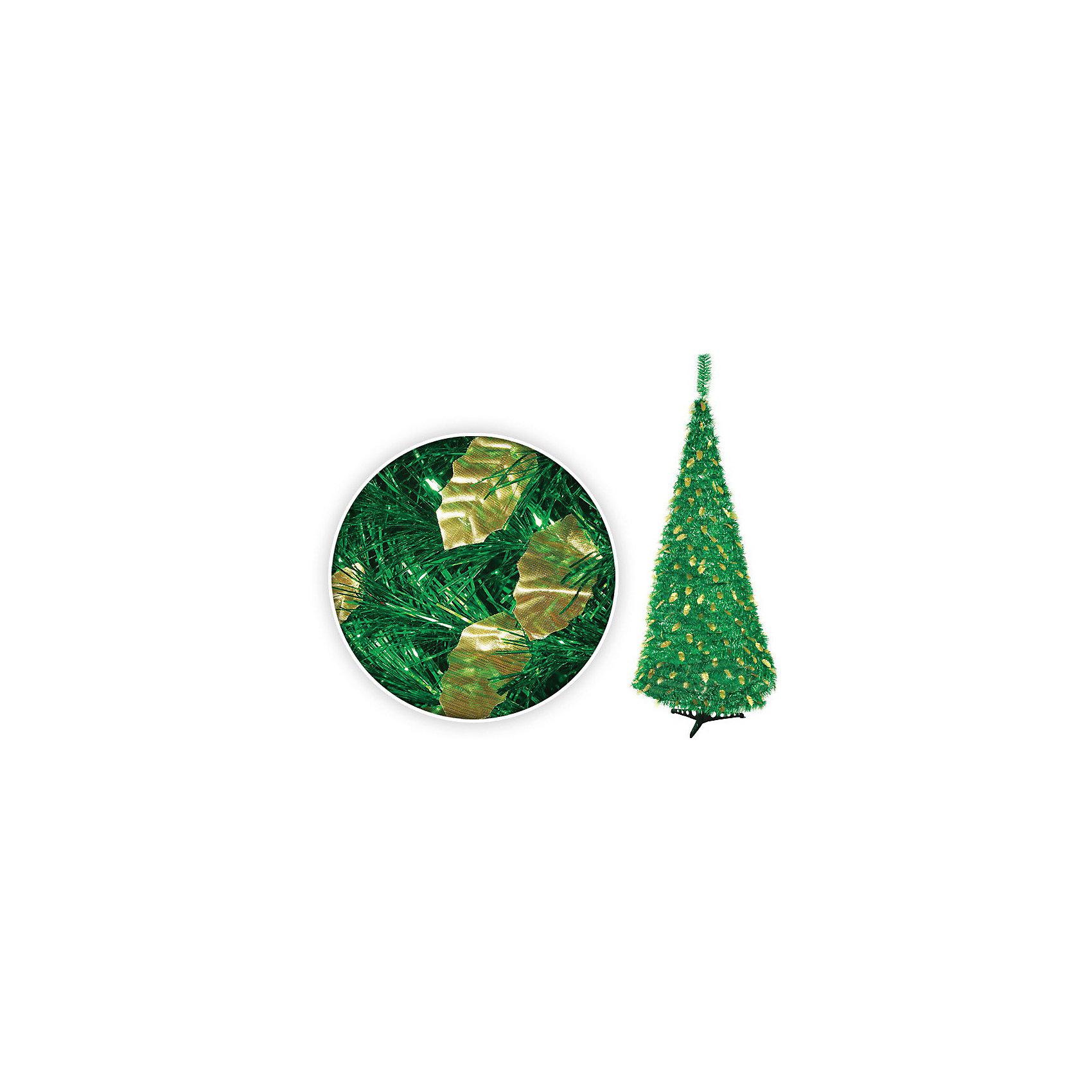 Ёлка фольгированная складная, 120 см, ЗЕЛЁНАЯВсё для праздника<br>Ёлка фольгированная складная (зеленая). Очень оригинальная елка, украшенная листочками из золотой фольги. Прекрасная новогодняя красавица принесет праздничное настроение в любой дом.<br><br>Дополнительная информация:<br><br>- Материал: пластик, фольга, металл<br>- Цвет в ассортименте: зеленый, золотой<br>- Размер: 120 см<br>- Устойчивая металлическая подставка<br><br>Фольгированную складную елку  можно купить в нашем магазине.<br><br>Ширина мм: 983<br>Глубина мм: 100<br>Высота мм: 100<br>Вес г: 983<br>Возраст от месяцев: 36<br>Возраст до месяцев: 216<br>Пол: Унисекс<br>Возраст: Детский<br>SKU: 3822101