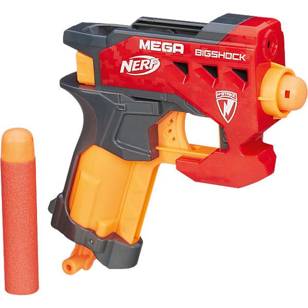 Бластер Hasbro Nerf Mega Большой выстрелИгрушечное оружие<br>Характеристики товара:<br><br>• возраст: от 8 лет;<br>• материал: пластик;<br>• в комплекте: бластер, 2 снаряда;<br>• дальность действия: 26 метров;<br>• размер упаковки: 20,3х19,1х5,1 см;<br>• вес упаковки: 277 гр.;<br>• страна производитель: Китай.<br><br>Бластер «Бигшот» Nerf Hasbro — увлекательное оружие, которое позволит мальчишкам придумать невероятные сюжеты для игры и устроить настоящие космические сражения. Бластер можно использовать как дома, так и разнообразить игры на свежем воздухе. В набор входят 2 снаряда, способные лететь на расстояние до 26 метров. Снаряды покрыты мягким поролоном, который защищает от случайных травм. Игрушка изготовлена из качественного пластика.<br><br>Бластер «Бигшот» Nerf Hasbro A9314 можно приобрести в нашем интернет-магазине.<br><br>Ширина мм: 205<br>Глубина мм: 192<br>Высота мм: 53<br>Вес г: 230<br>Возраст от месяцев: 96<br>Возраст до месяцев: 2147483647<br>Пол: Мужской<br>Возраст: Детский<br>SKU: 3824430