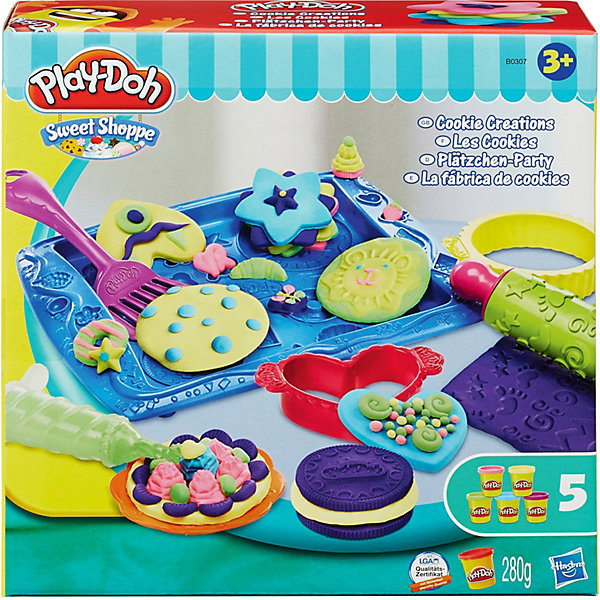 Игровой набор Магазинчик печенья, Play-DohНаборы для лепки<br>В этом замечательном наборе есть все, чтобы испечь самое красивое и замечательное печенье в мире! Надо лишь раскатать пластилин маленькой удобной скалкой и выбрать ту формочку, которая тебе по душе. Теперь переложи печенье на противень и не забывай переворачивать тесто лопаточкой, а то оно подгорит. Укрась готовое печенье по-своему вкусу и скорее зови гостей за стол! Все детали набора выполнены из высококачественных материалов. Пластилин хорошо лепится, не остается на руках, не пачкает кожу, абсолютно гипоаллергенный. Лепка прекрасно развивает мелкую моторику, тактильные ощущения и фантазию. <br><br>Дополнительная информация:<br><br>- Комплектация: скалка, формы для печенья (5 шт.), экструдер, лопаточка, противень и 5 стандартных баночек пластилина Play-Doh.<br>- Материал: пластик, пластилин. <br>- Размер упаковки: 30х6х30 см.<br><br>Игровой набор Магазинчик печенья, Play-Doh (Плей До) можно купить в нашем магазине.<br><br>Ширина мм: 229<br>Глубина мм: 228<br>Высота мм: 68<br>Вес г: 626<br>Возраст от месяцев: 36<br>Возраст до месяцев: 72<br>Пол: Унисекс<br>Возраст: Детский<br>SKU: 3824995