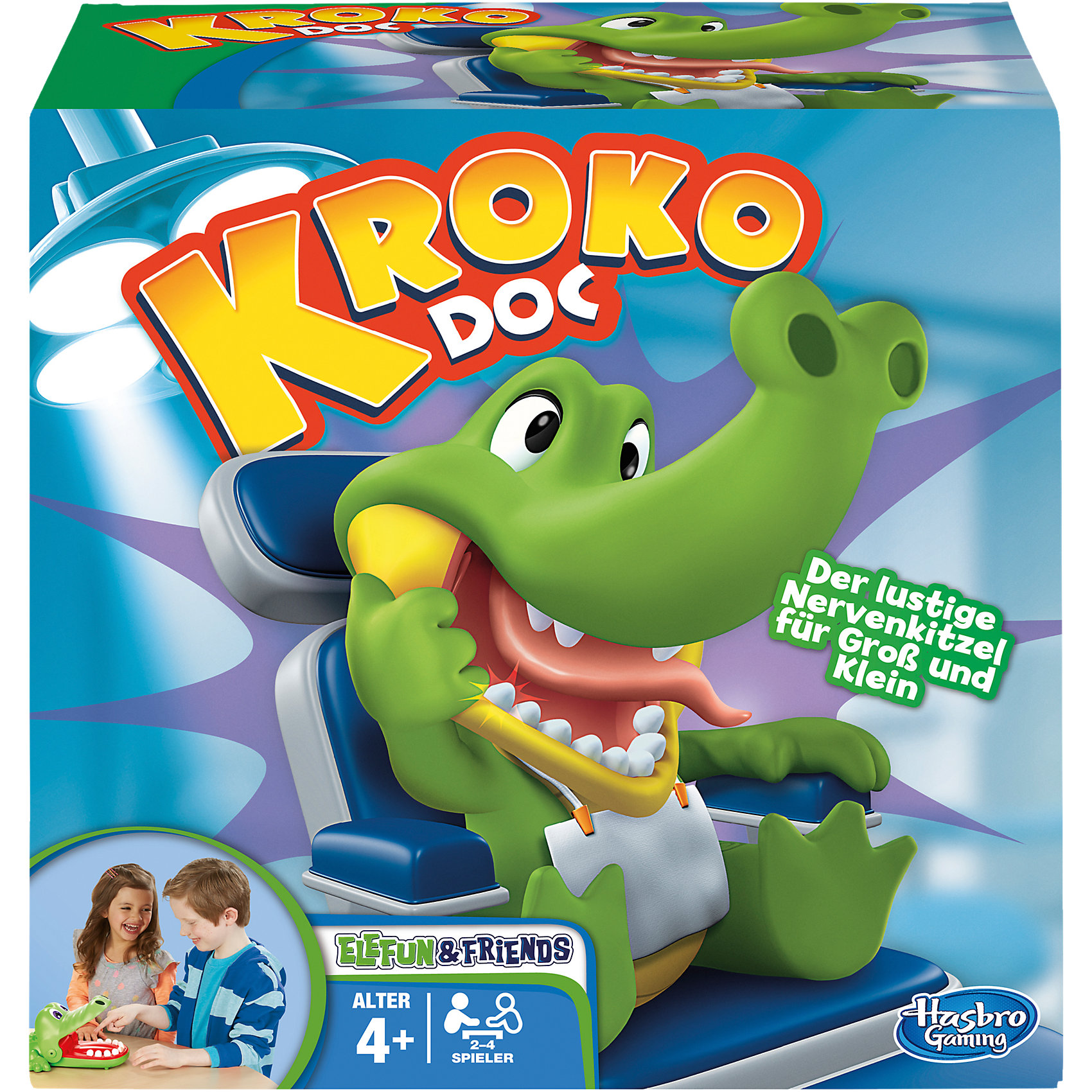 Крокодильчик Дантист, HasbroКрокодильчик Дантист, Hasbro - веселая настольная игра, в которую можно играть всей семьей или компанией друзей. Цель игры - найти больной зуб у забавного крокодильчика. В игре могут участвовать от двух до четырех игроков. Участники по очереди нажимают на зубы крокодильчика, стараясь не попасть на больной зуб. Стоит только надавить на больной зуб как крокодильчик сразу захлопнет рот, что будет означать проигрыш. Победителем становится игрок, не задевший больной зуб и оставшийся в игре. Игра способствует развитию внимания, реакции и ловкости.<br><br>Дополнительная информация:<br><br>- В комплекте: крокодильчик, правила игры.<br>- Материал: пластик.<br>- Размер упаковки: 26,7 х 26,7 х 8,1 см.<br>- Вес: 0,848 кг.<br><br>Игру Крокодильчик Дантист, Hasbro, можно купить в нашем интернет-магазине.<br><br>Ширина мм: 271<br>Глубина мм: 271<br>Высота мм: 149<br>Вес г: 719<br>Возраст от месяцев: 48<br>Возраст до месяцев: 72<br>Пол: Унисекс<br>Возраст: Детский<br>SKU: 3824997